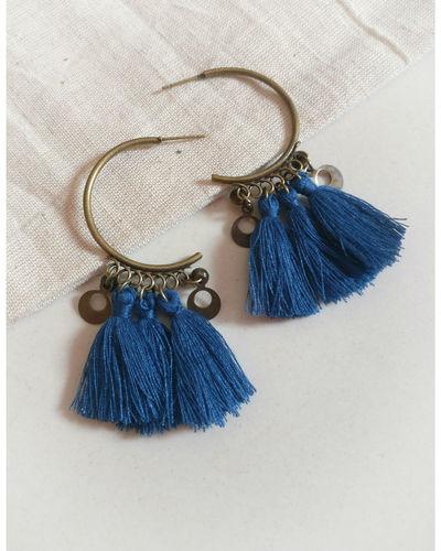 Blue Tassel Hoops