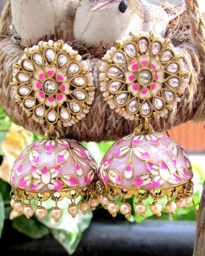 Mauve Jhumka With Pearl Drops