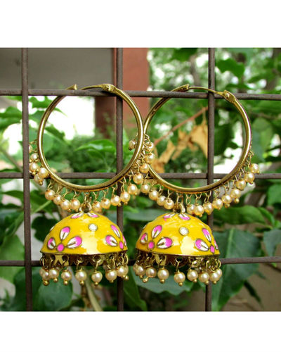 Yellow Pink Ring Jhumki