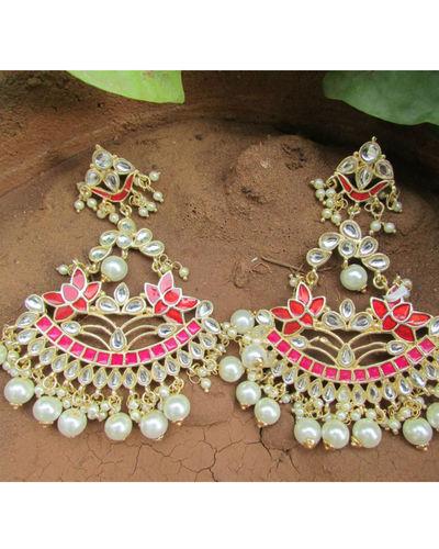 Red Gold Kundan Earring