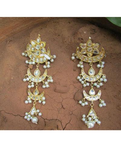 Multilayer Kundan Chandbali Earrings