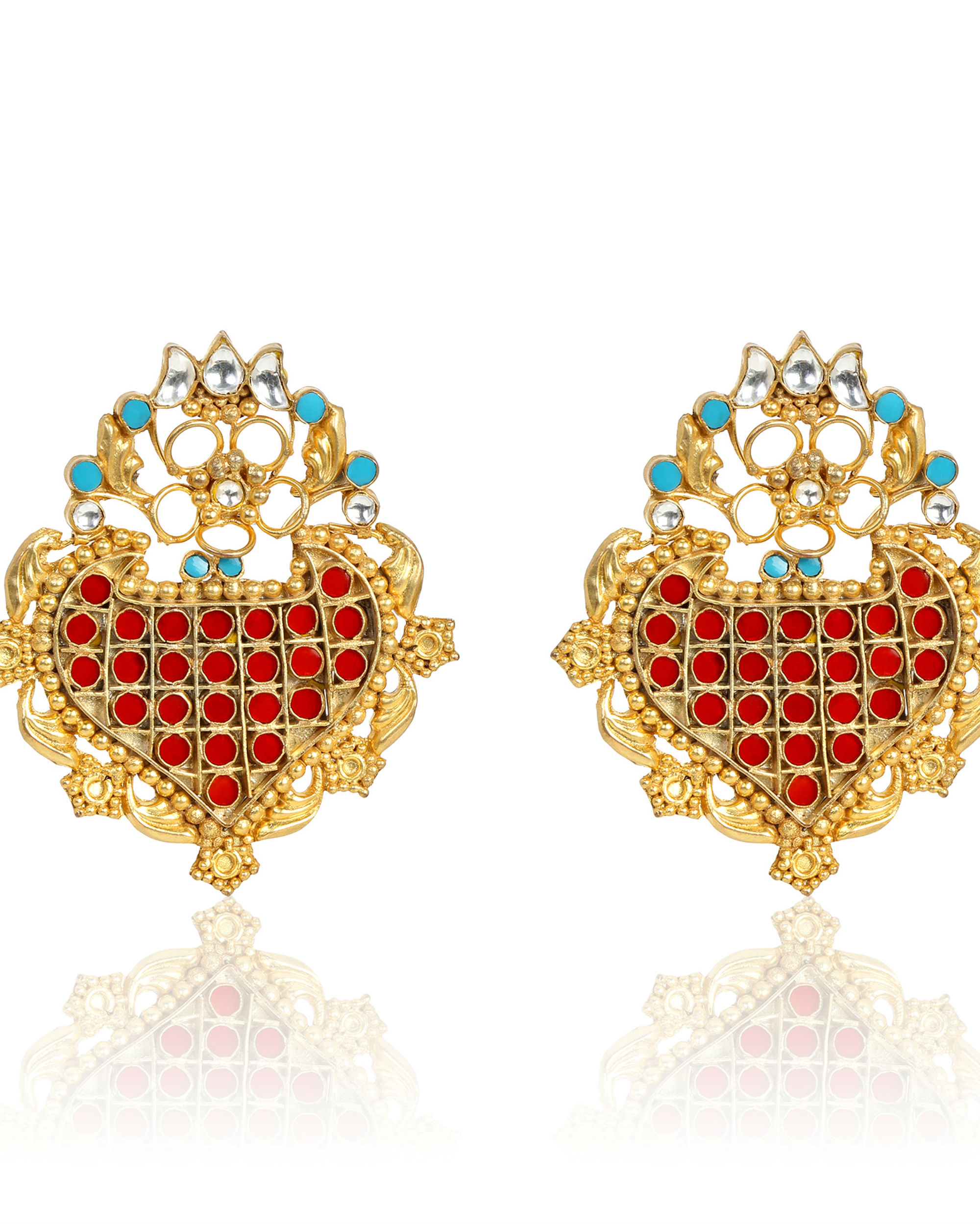 Hirna Turquoise and Red Stone Statement Earrings