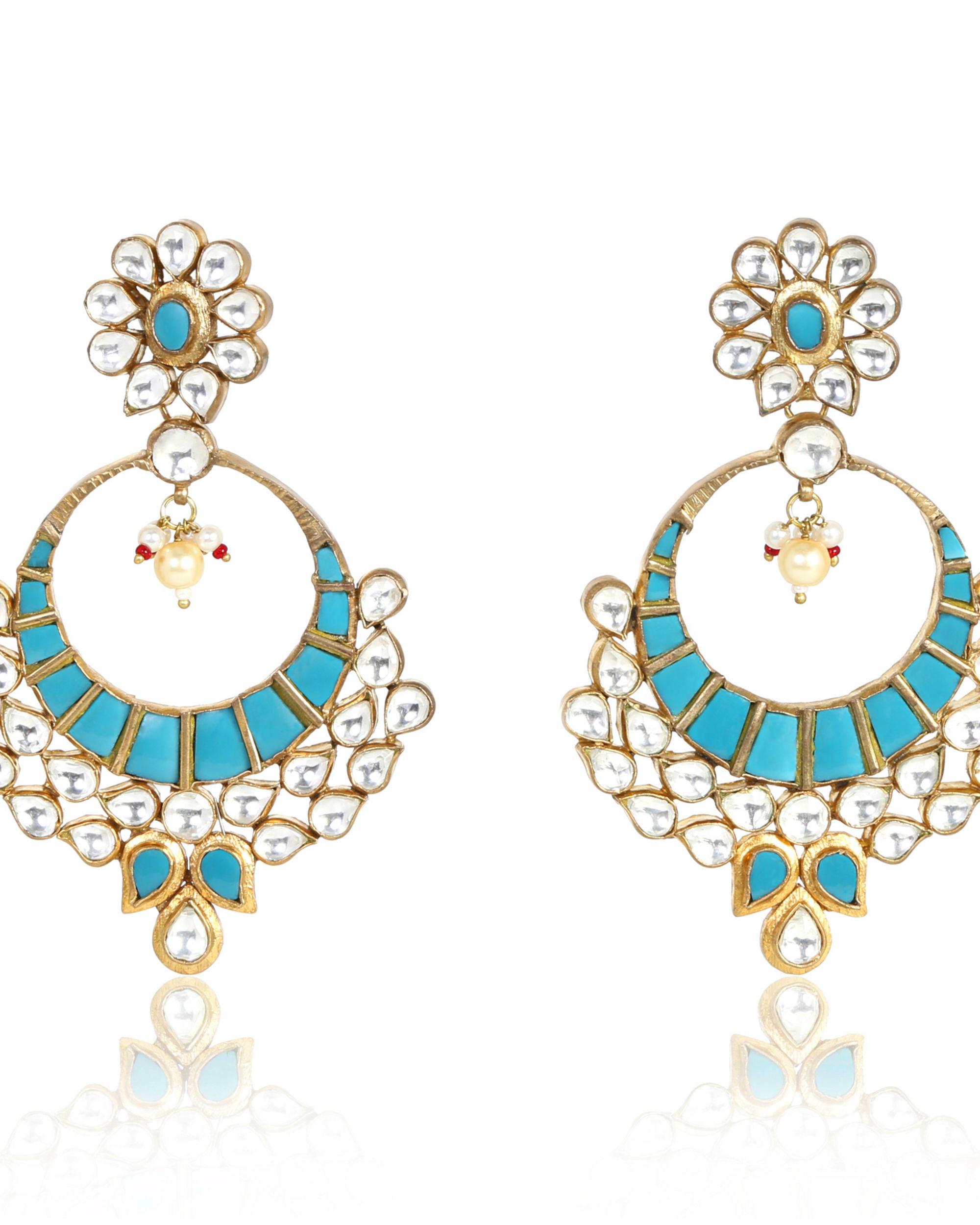Inja Turquoise Floral Kundan Earrings