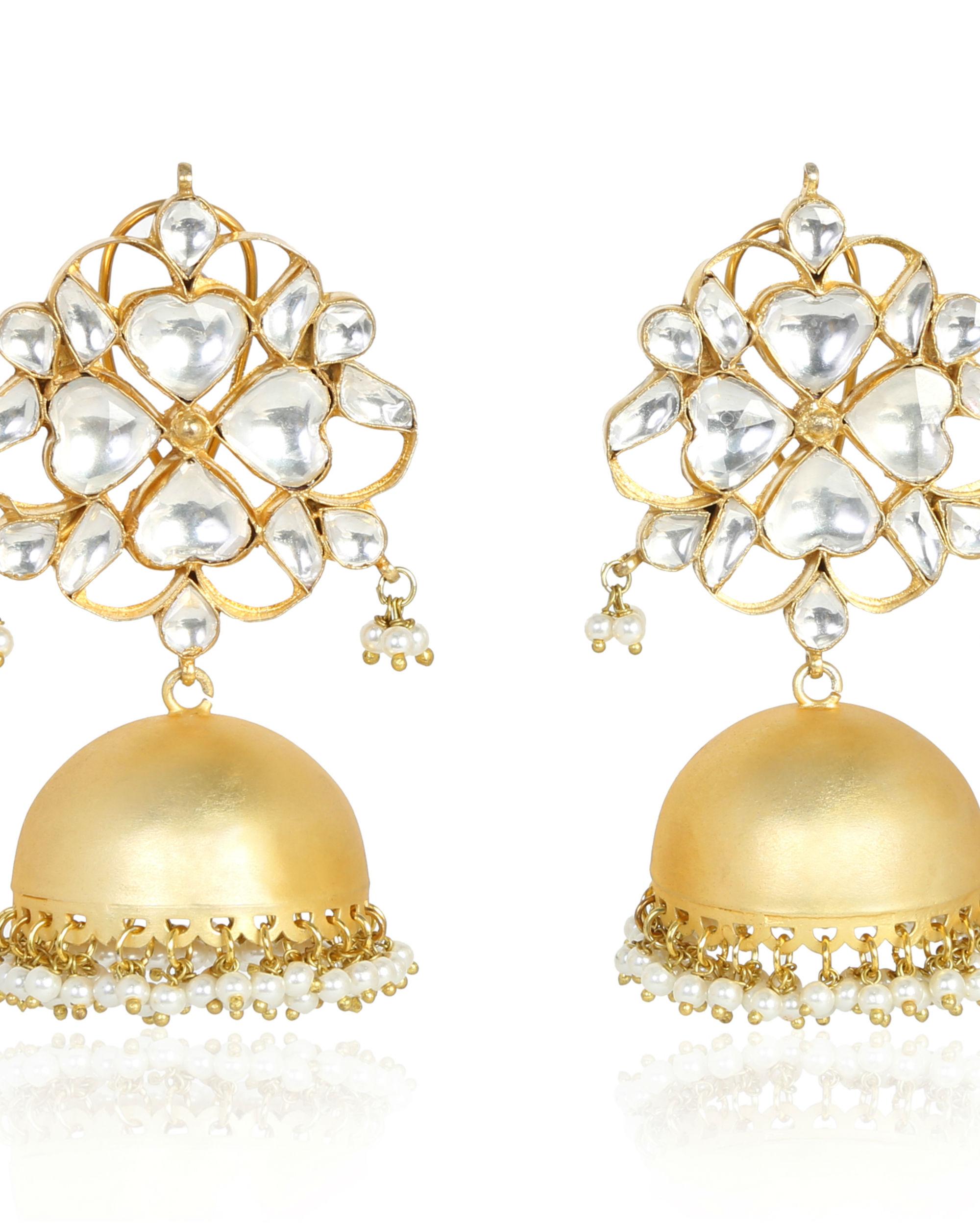 Aditri Gold frosted Polki Jhumka