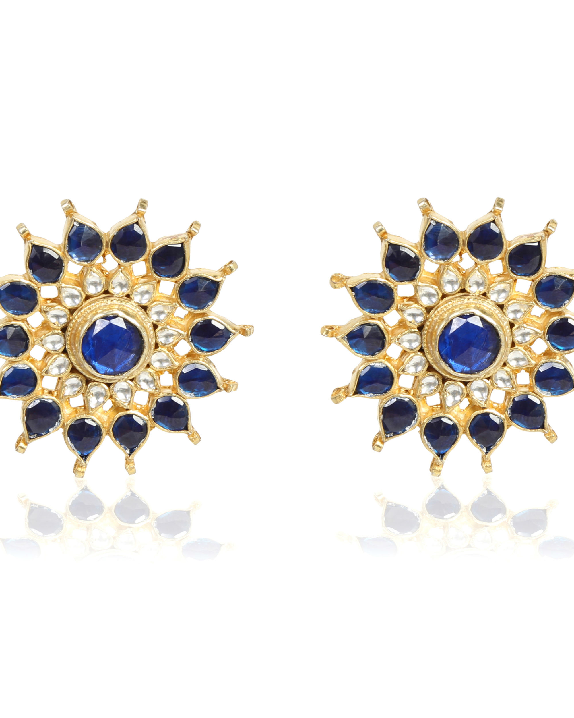 Royal Blue Kundan Studs.