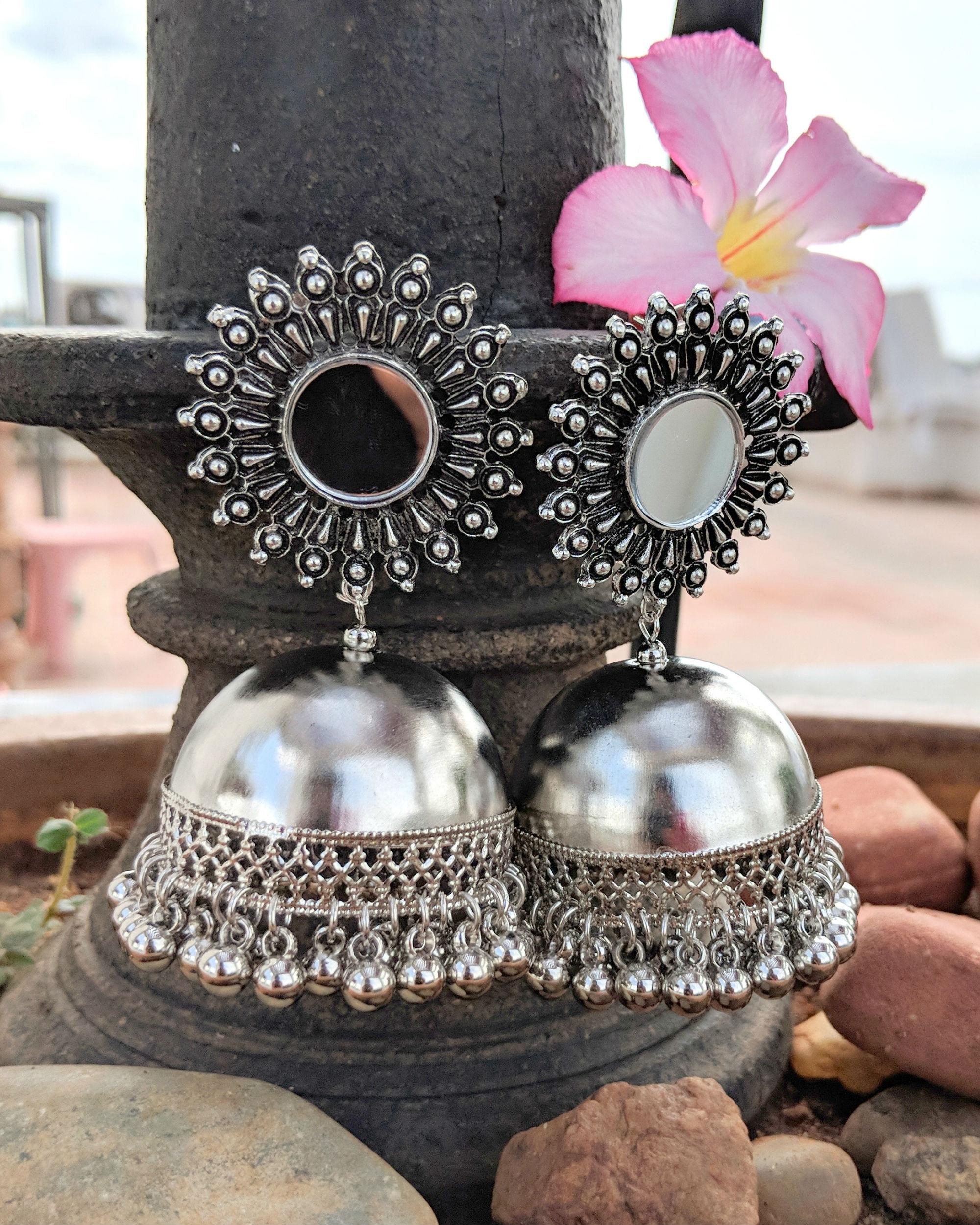 Silver mirror jhumkas