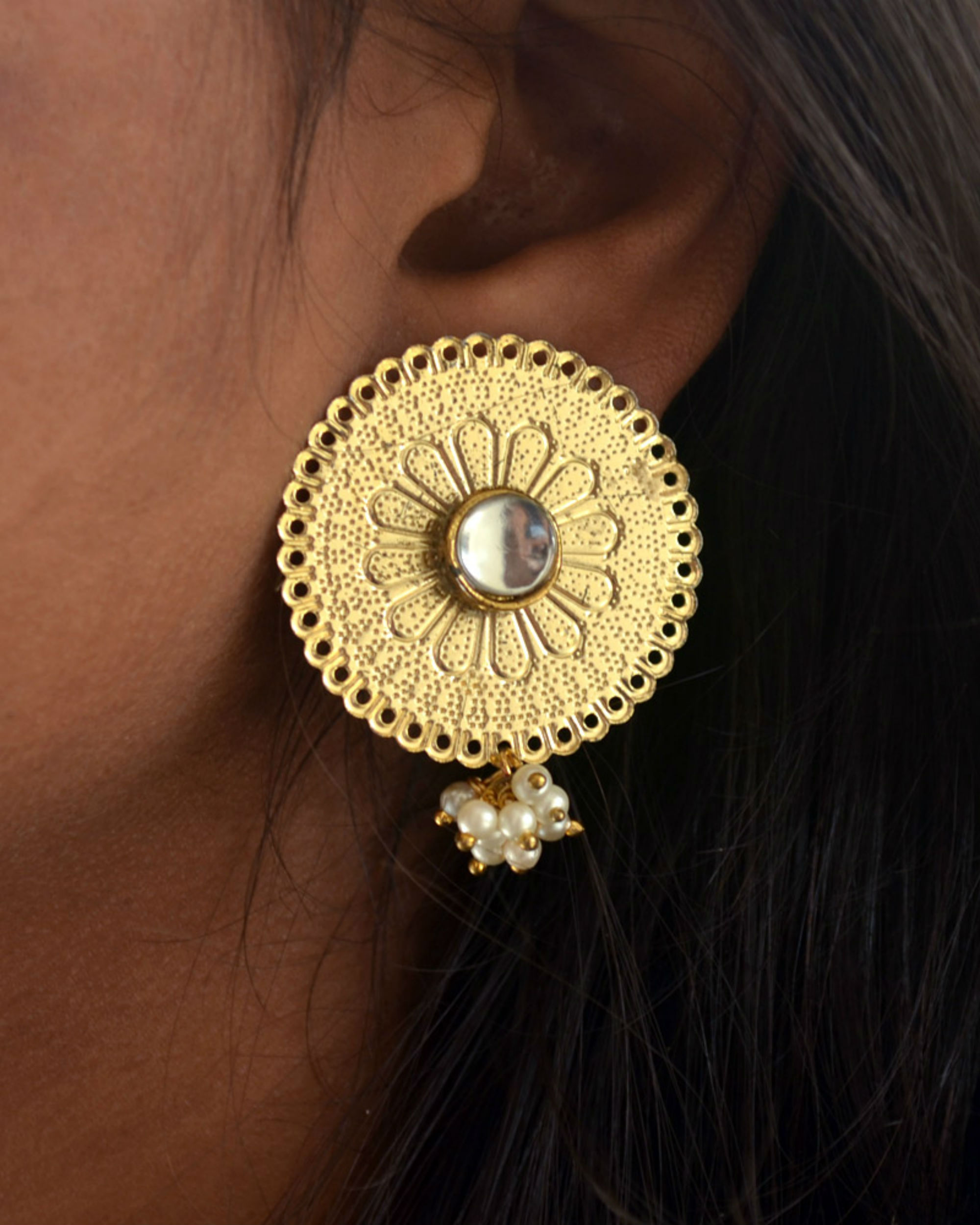 aa9a1a5ba Round kundan earrings by Abhika Creations | The Secret Label