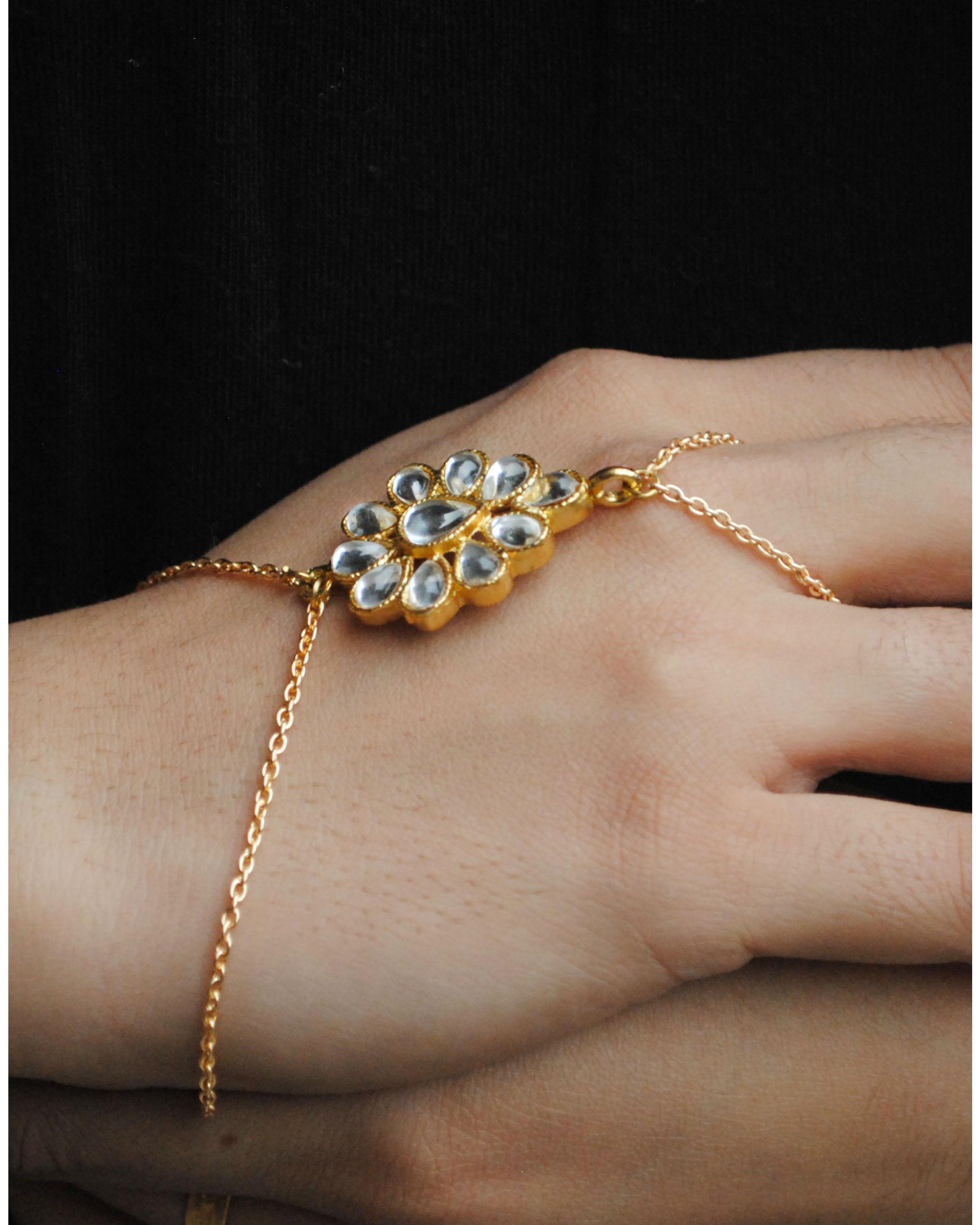 Kundan ring bracelet