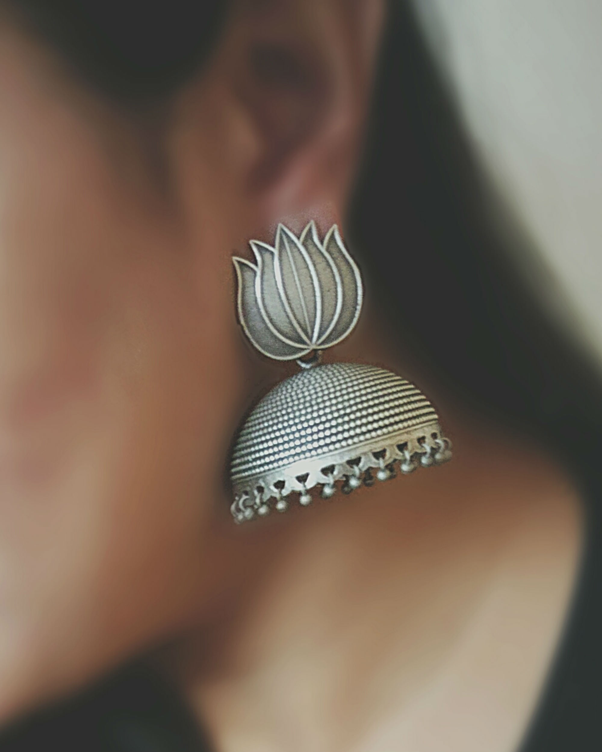 Textured lotus jhumkas