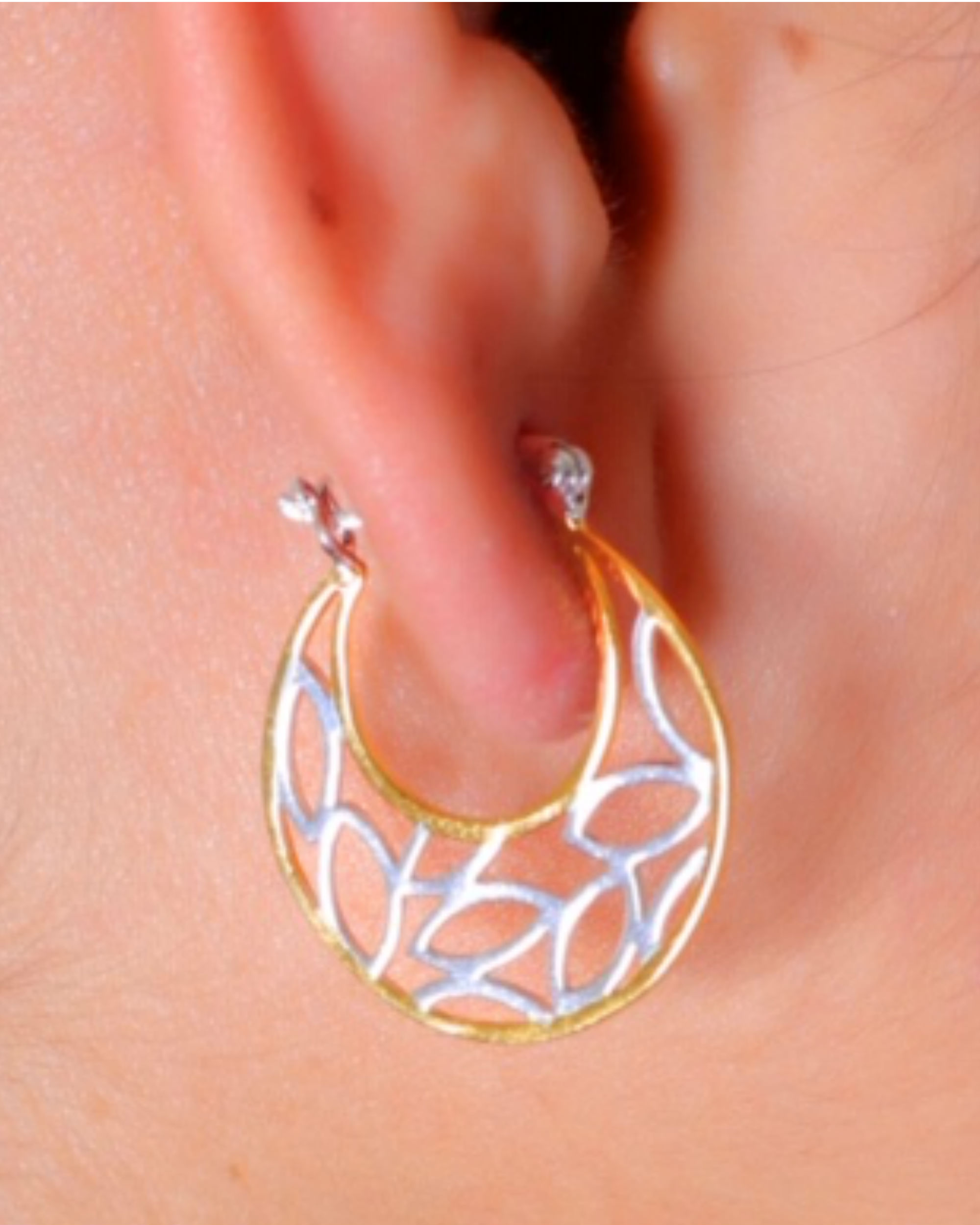 Twin color hoop earrings