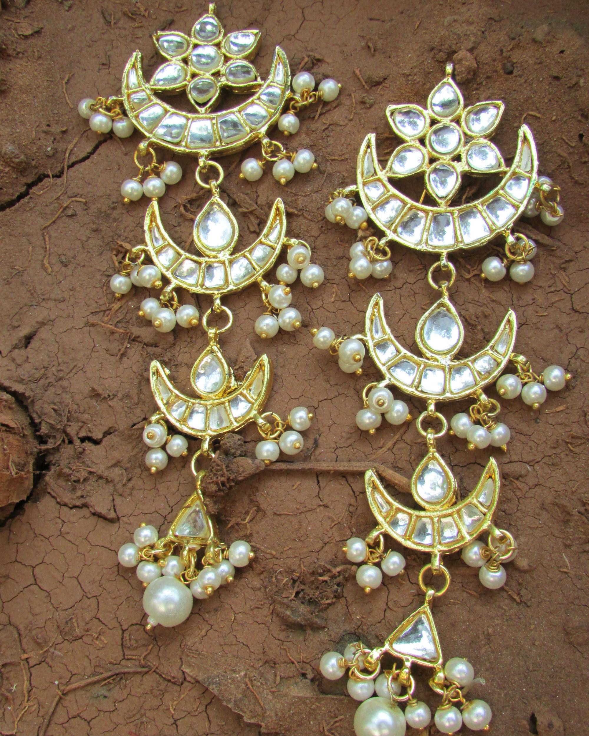Kundan moon earrings