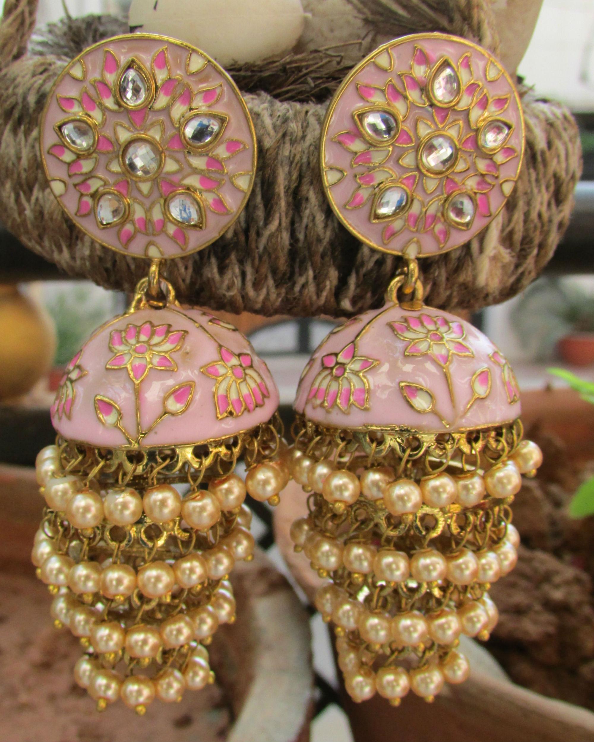 Peach pearl jhumka earrings