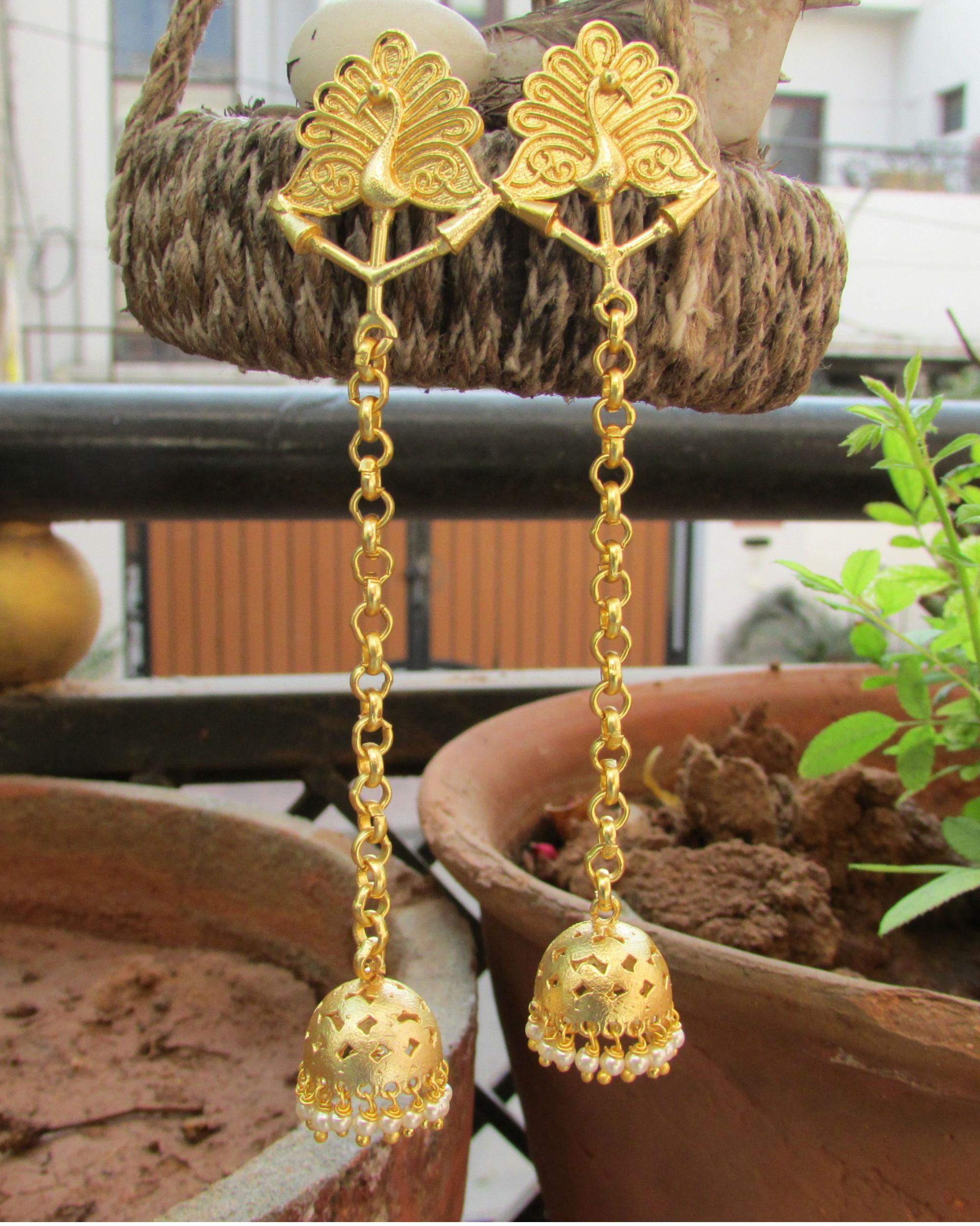 Golden peacock dangler earrings