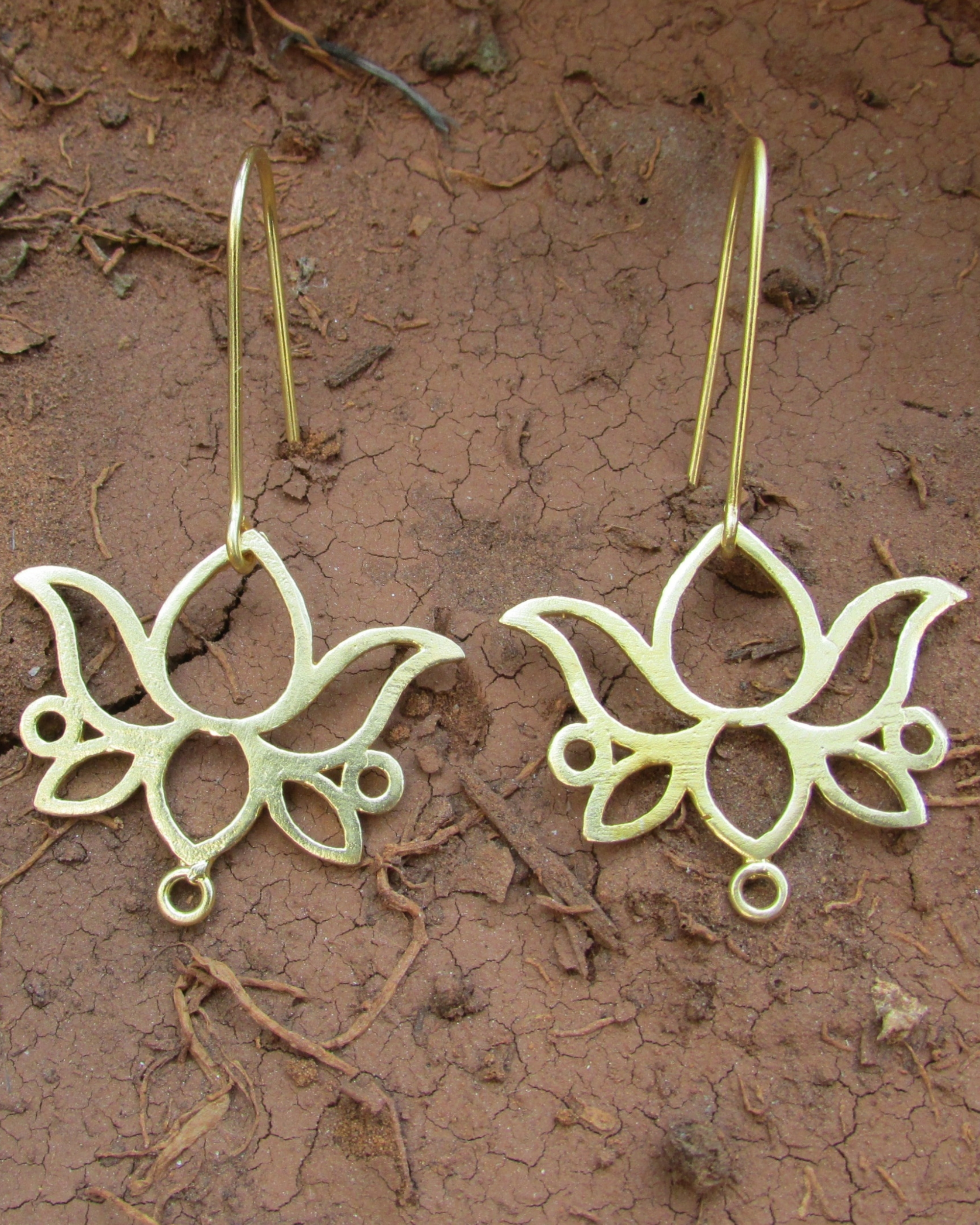 Lotus golden earrings