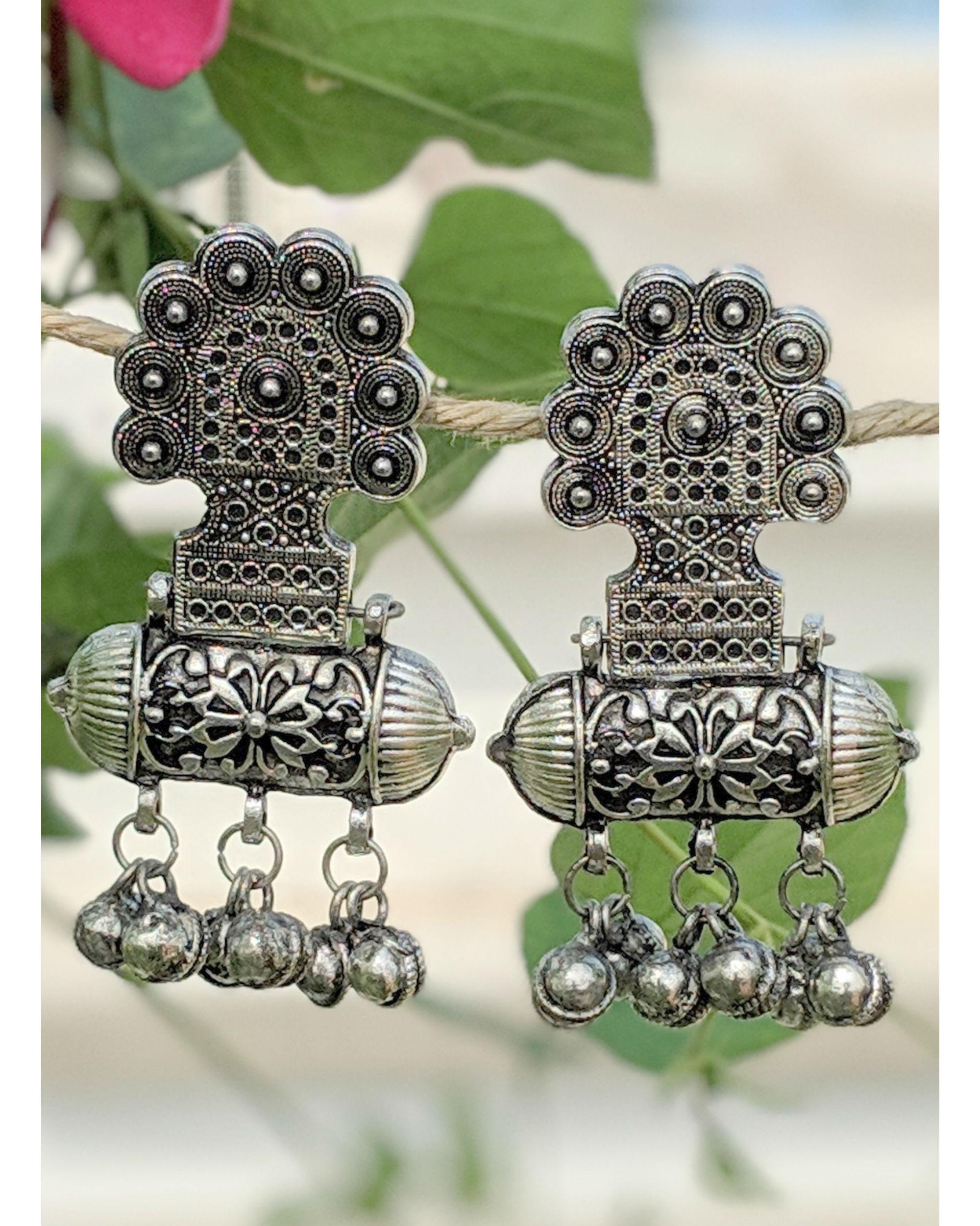 Silver bell earrings