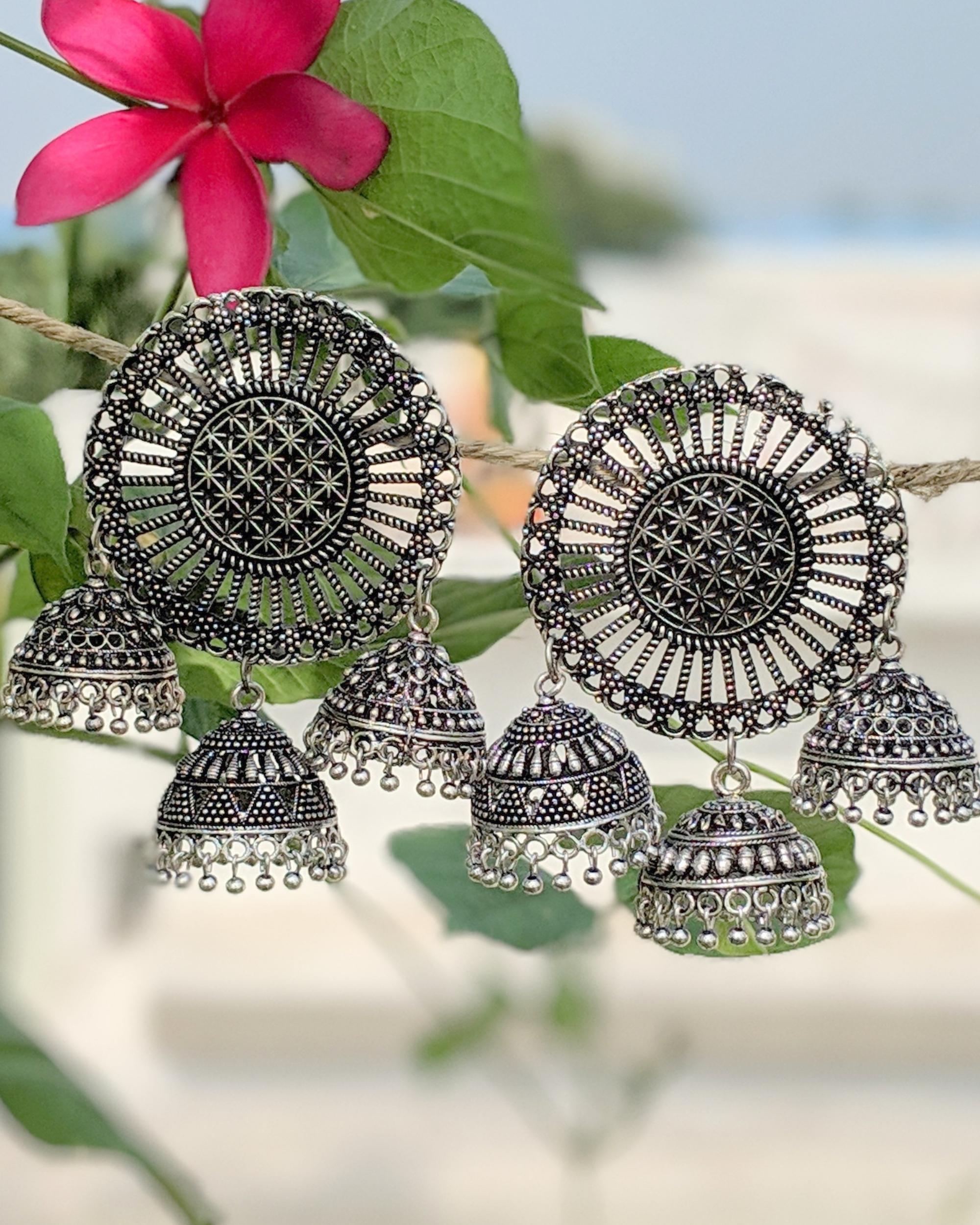 Wheel jhumka earrings