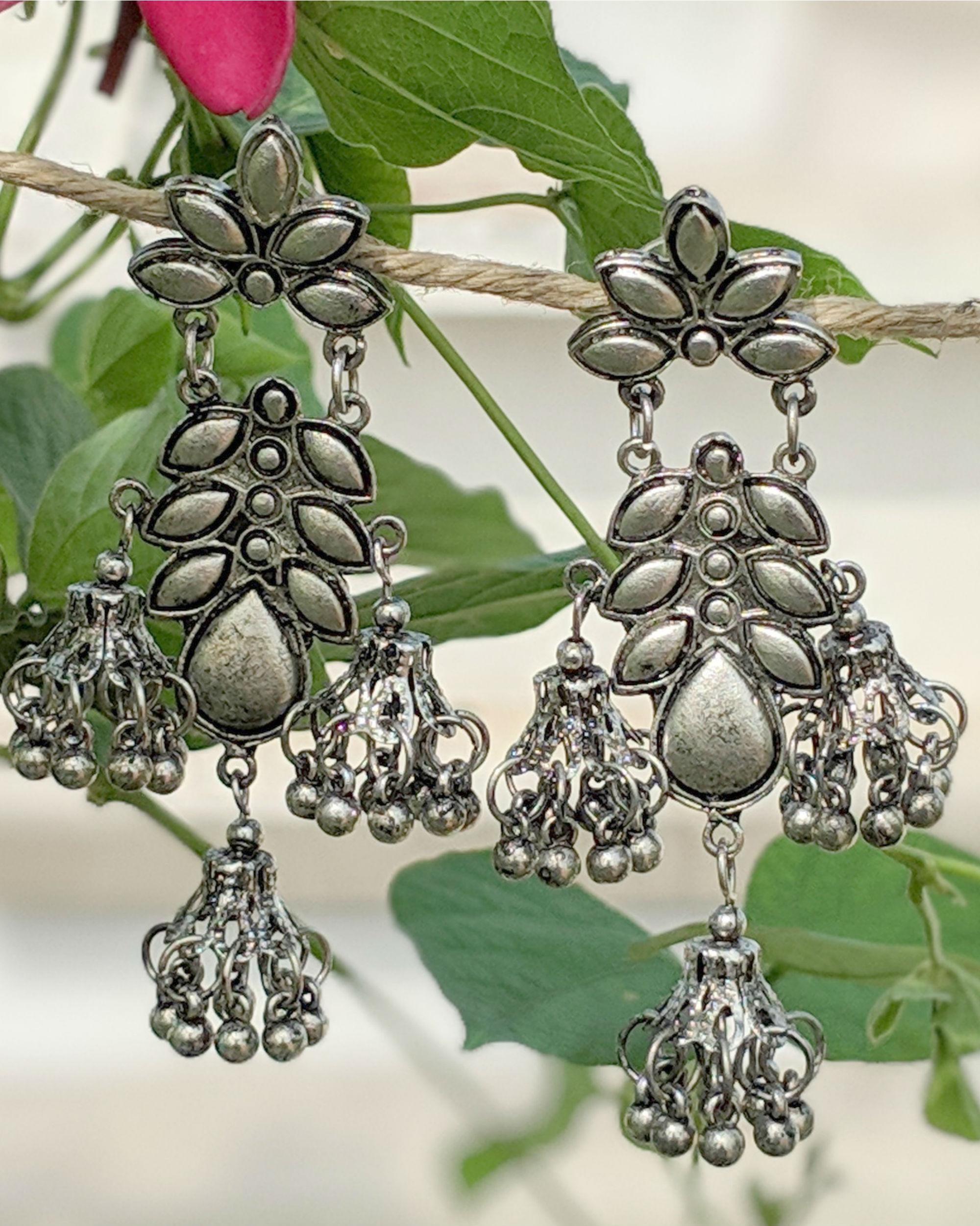 Silver petal bell jhumkas