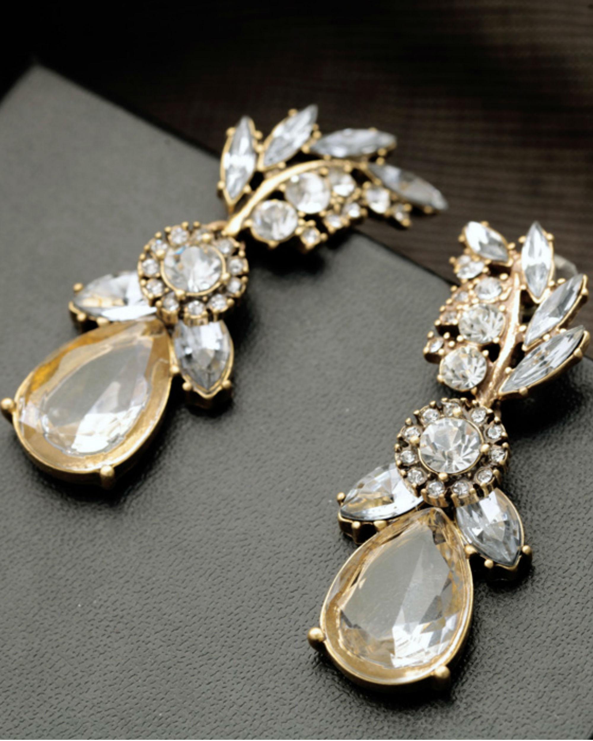 Champagne crystal leaves earrings