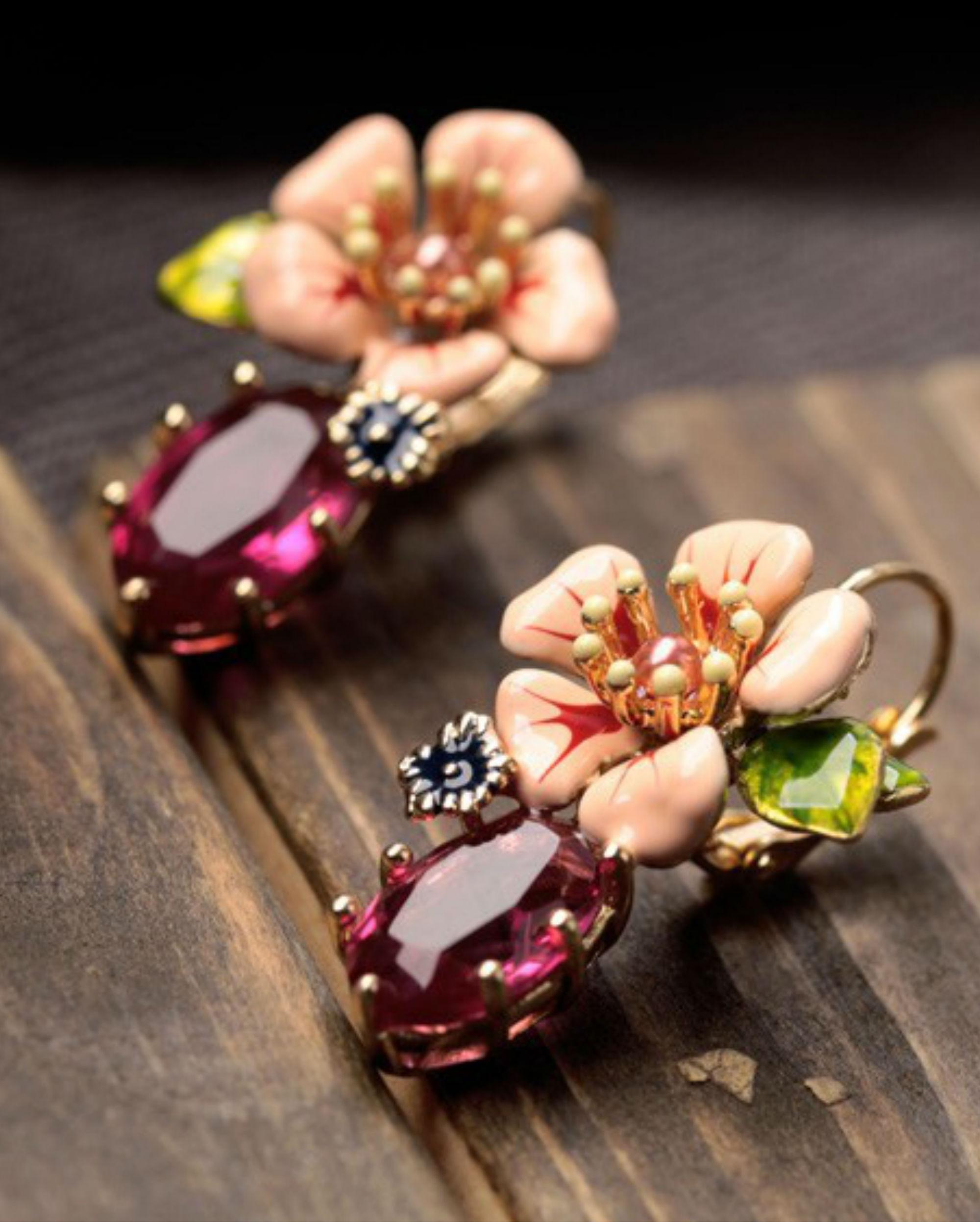 Pink flora earrings