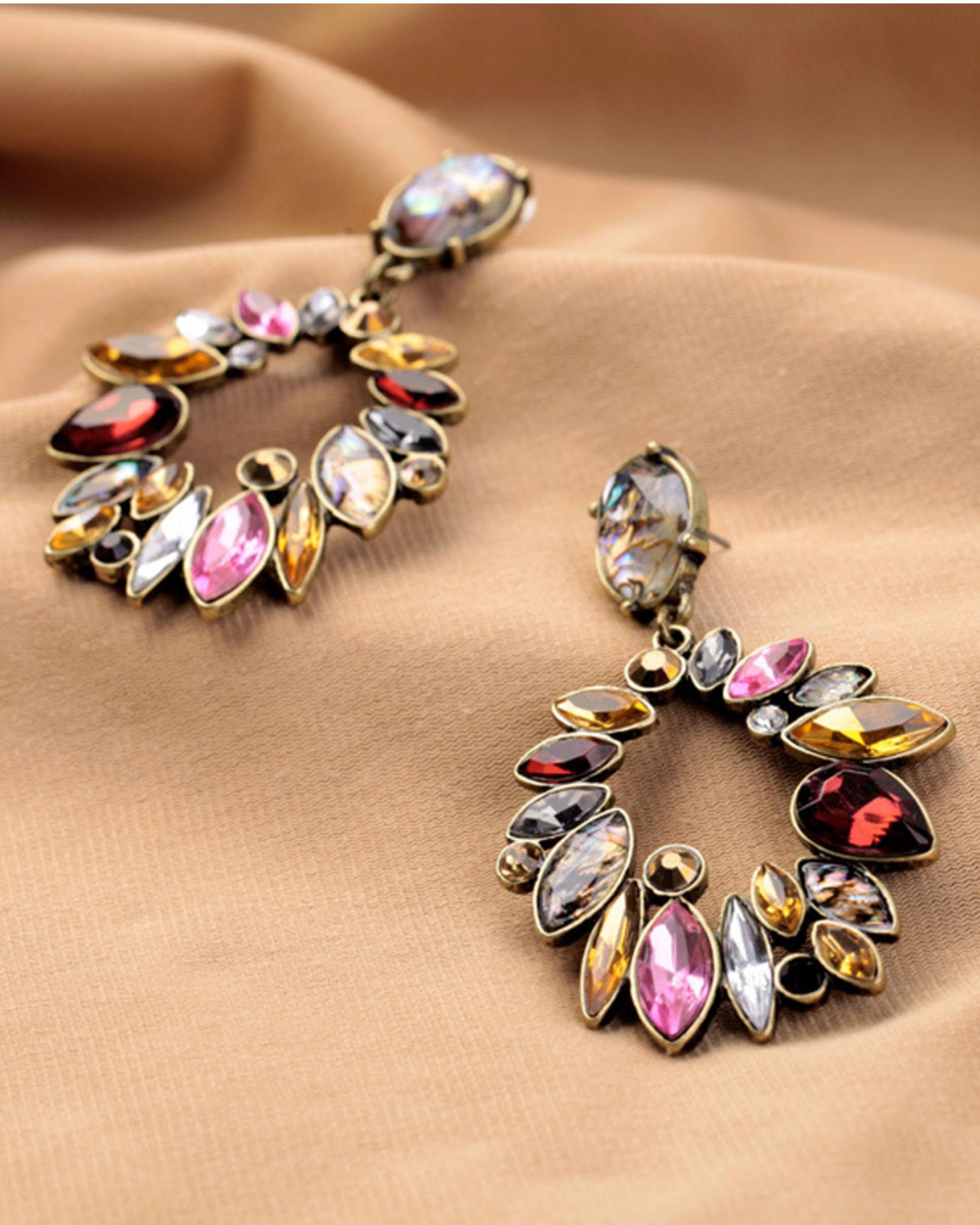 Multicolour stone round earrings