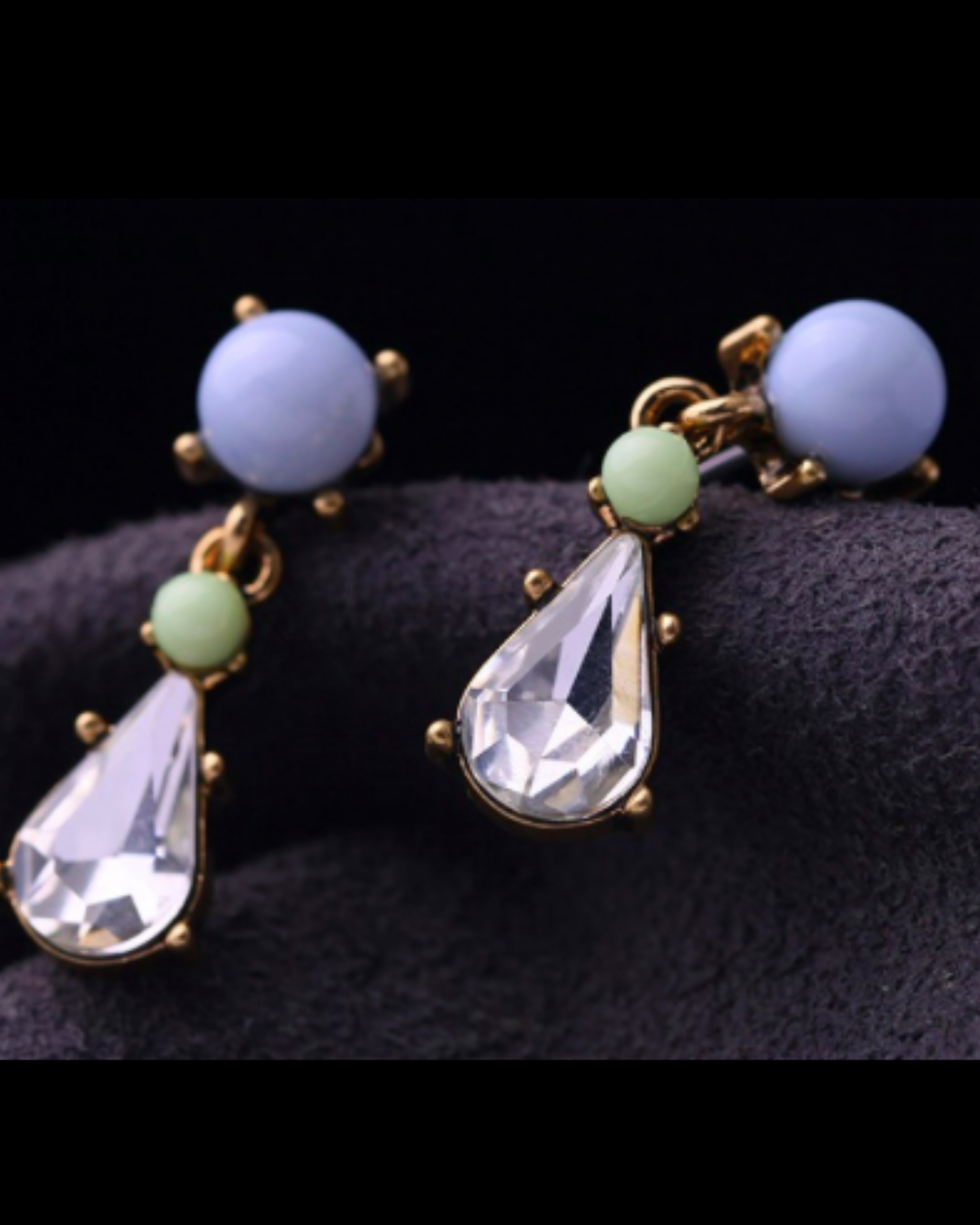 Blue water drop earrings