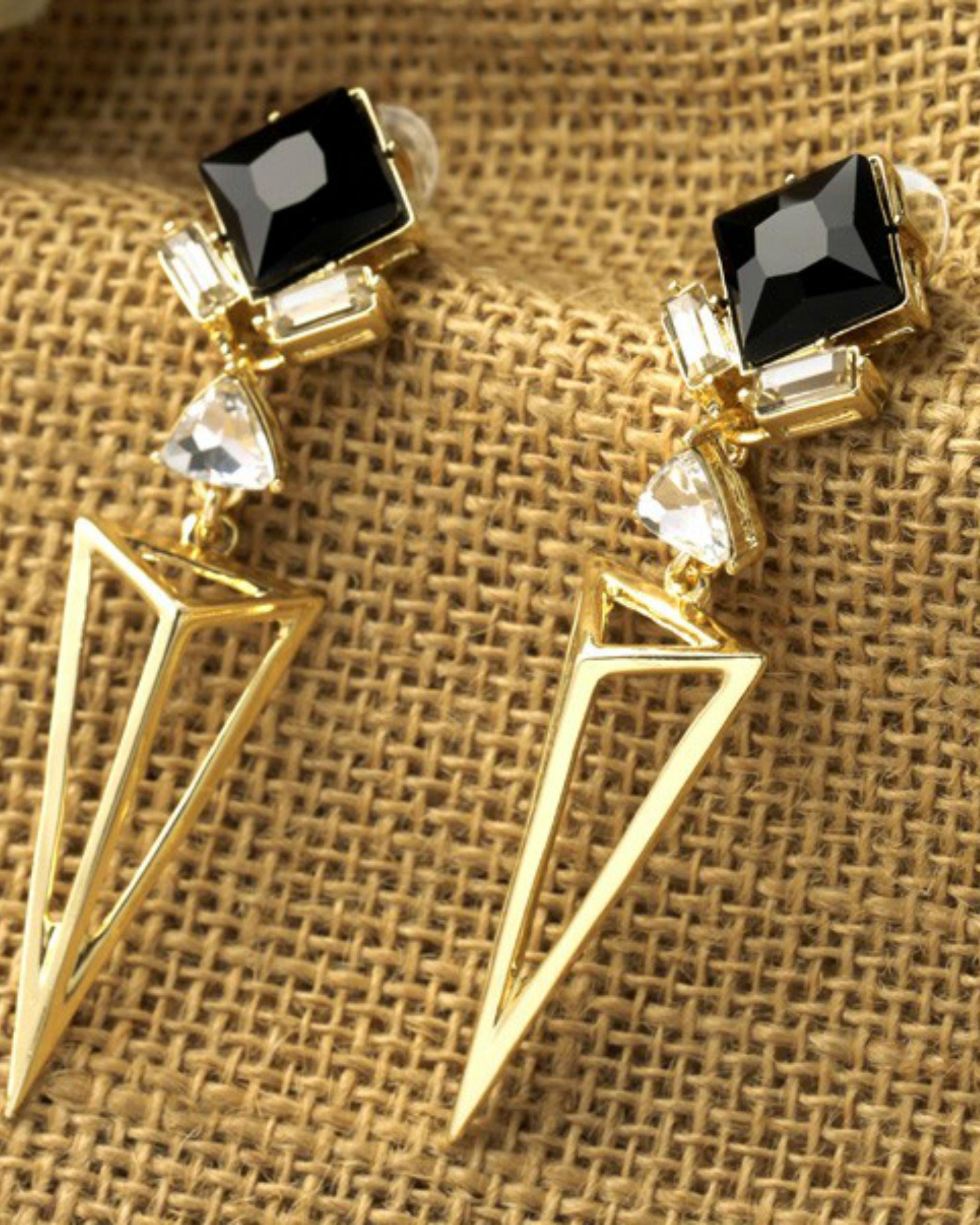 Triangle black drop earrings