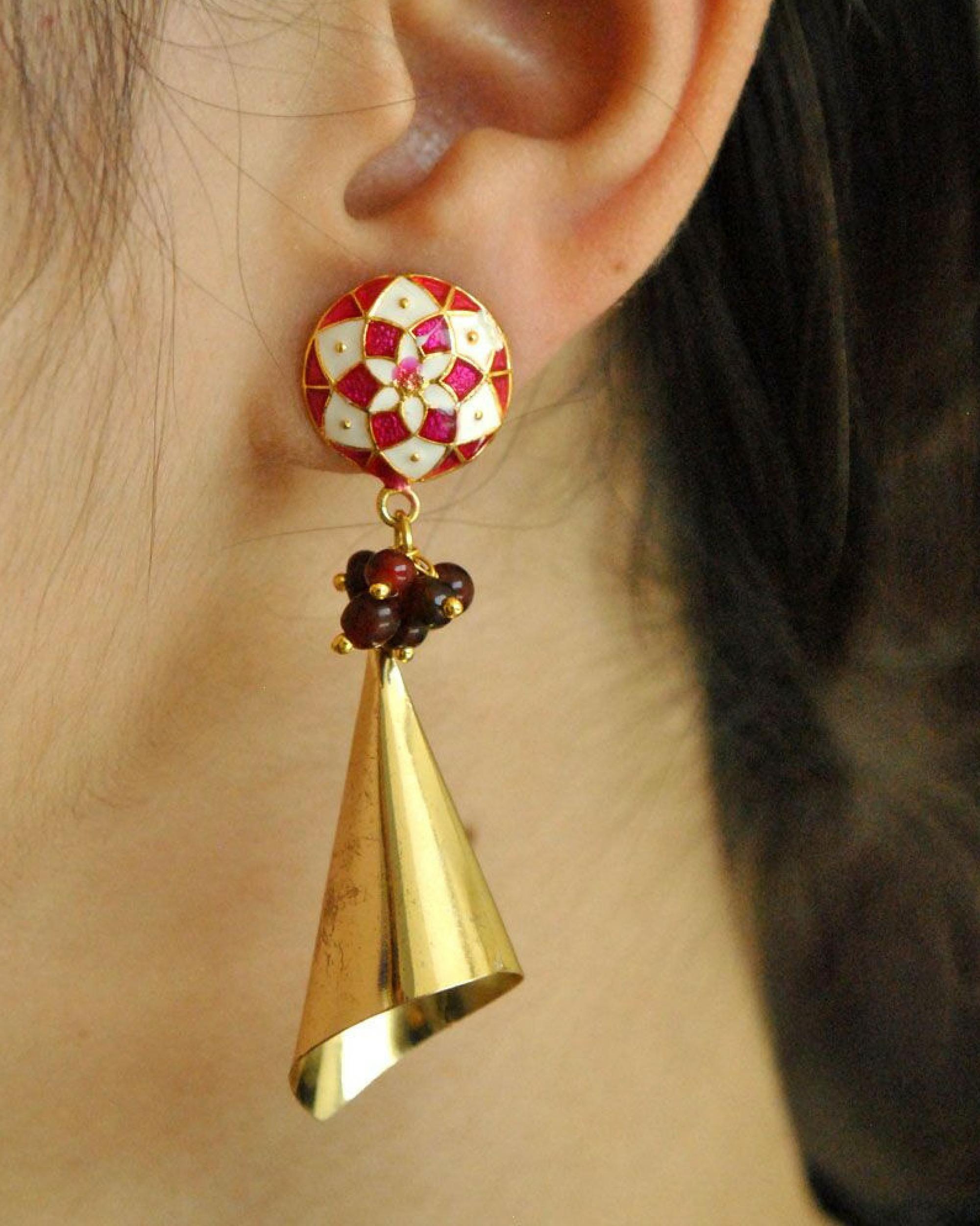 Meenakari cone earrings