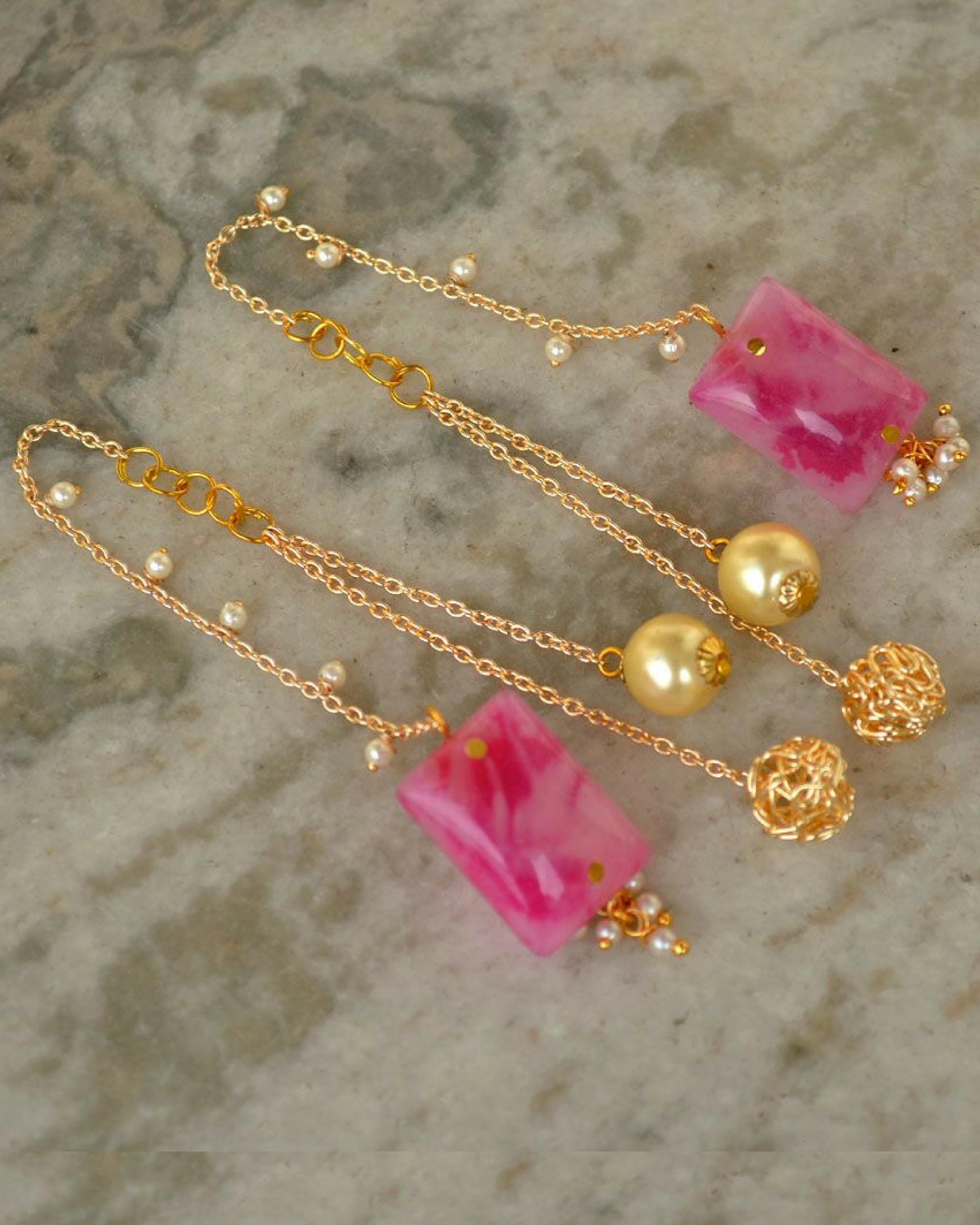 Pink kanauti earrings