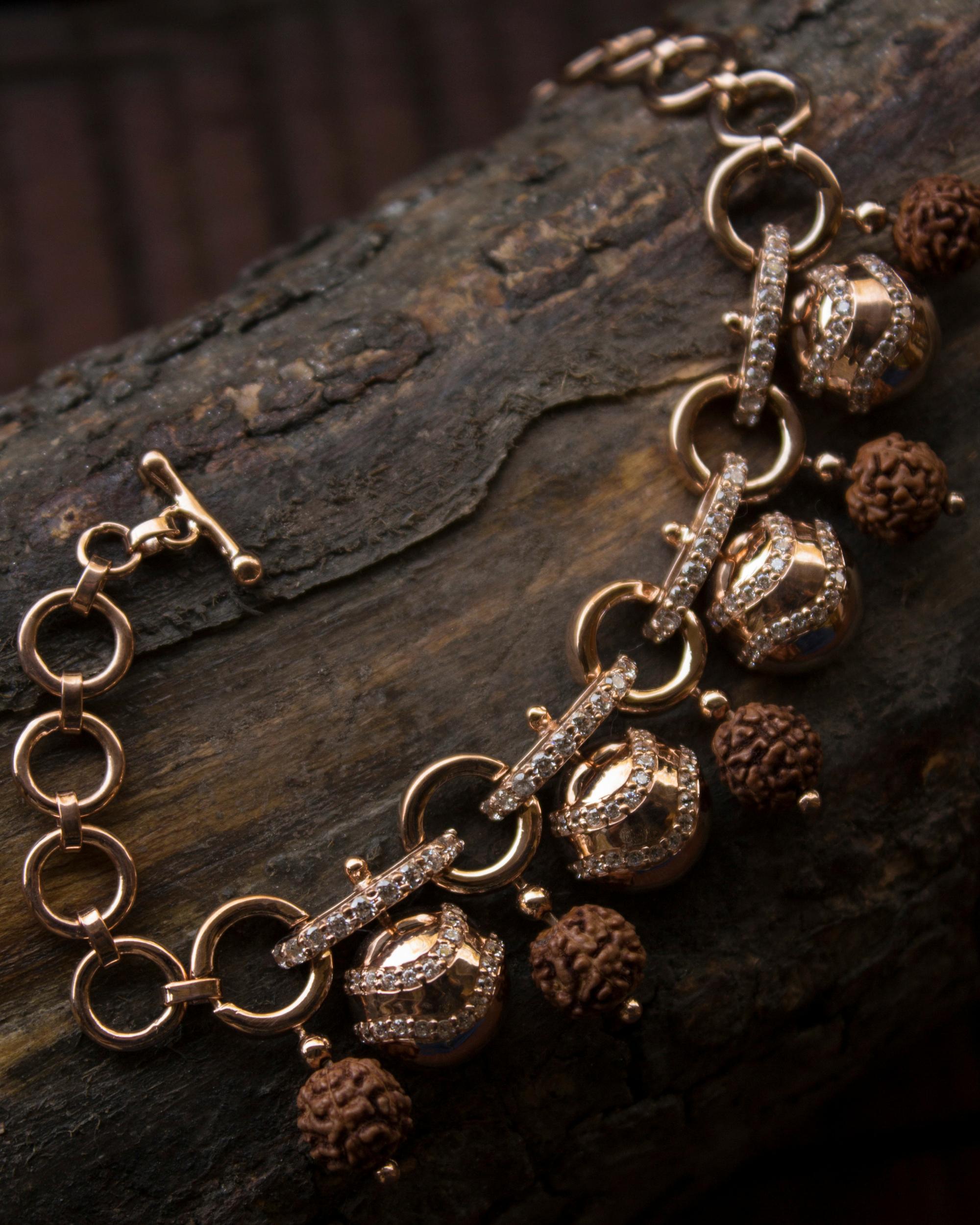 Rose gold comet belt bracelet