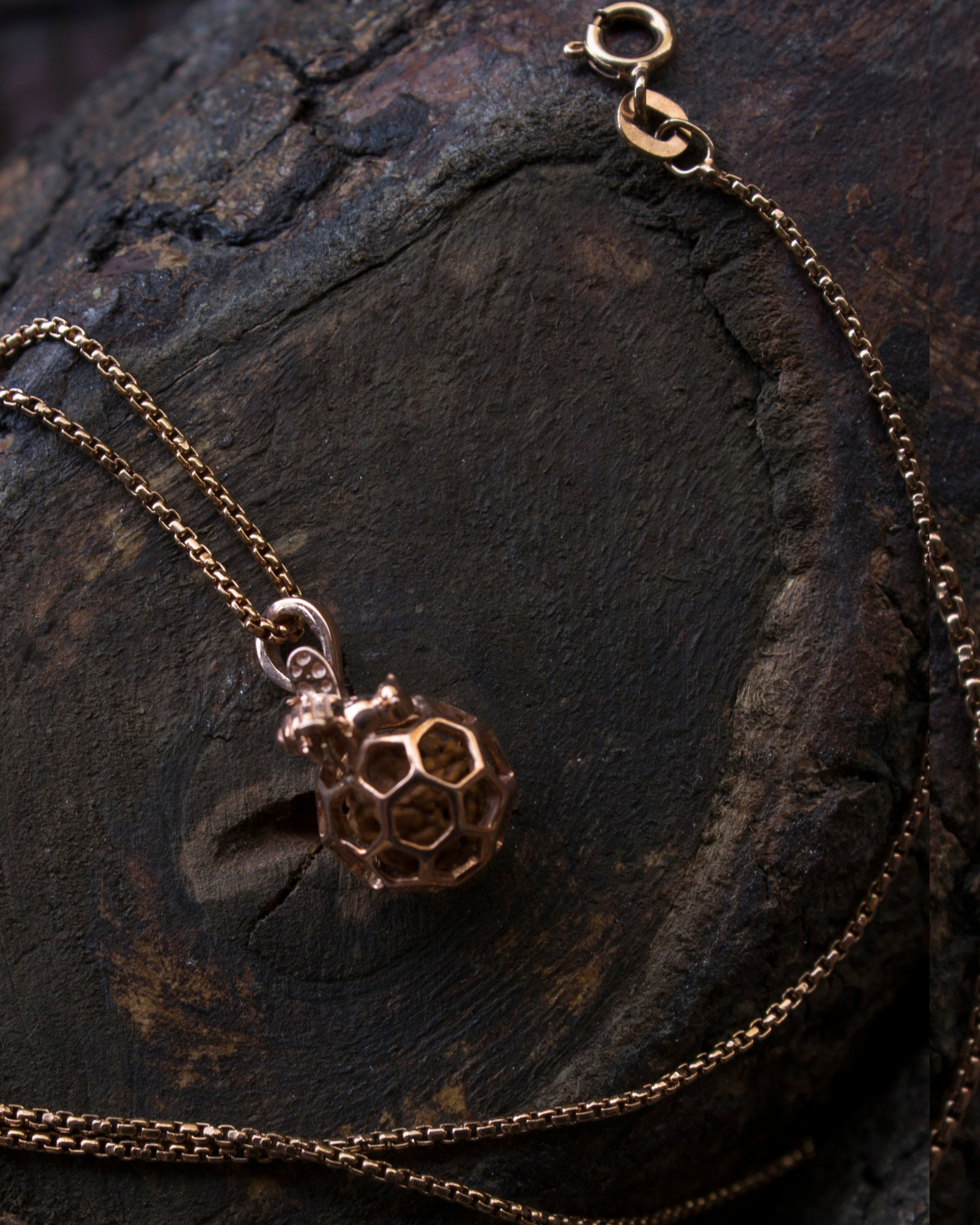 Rose gold hive pendant