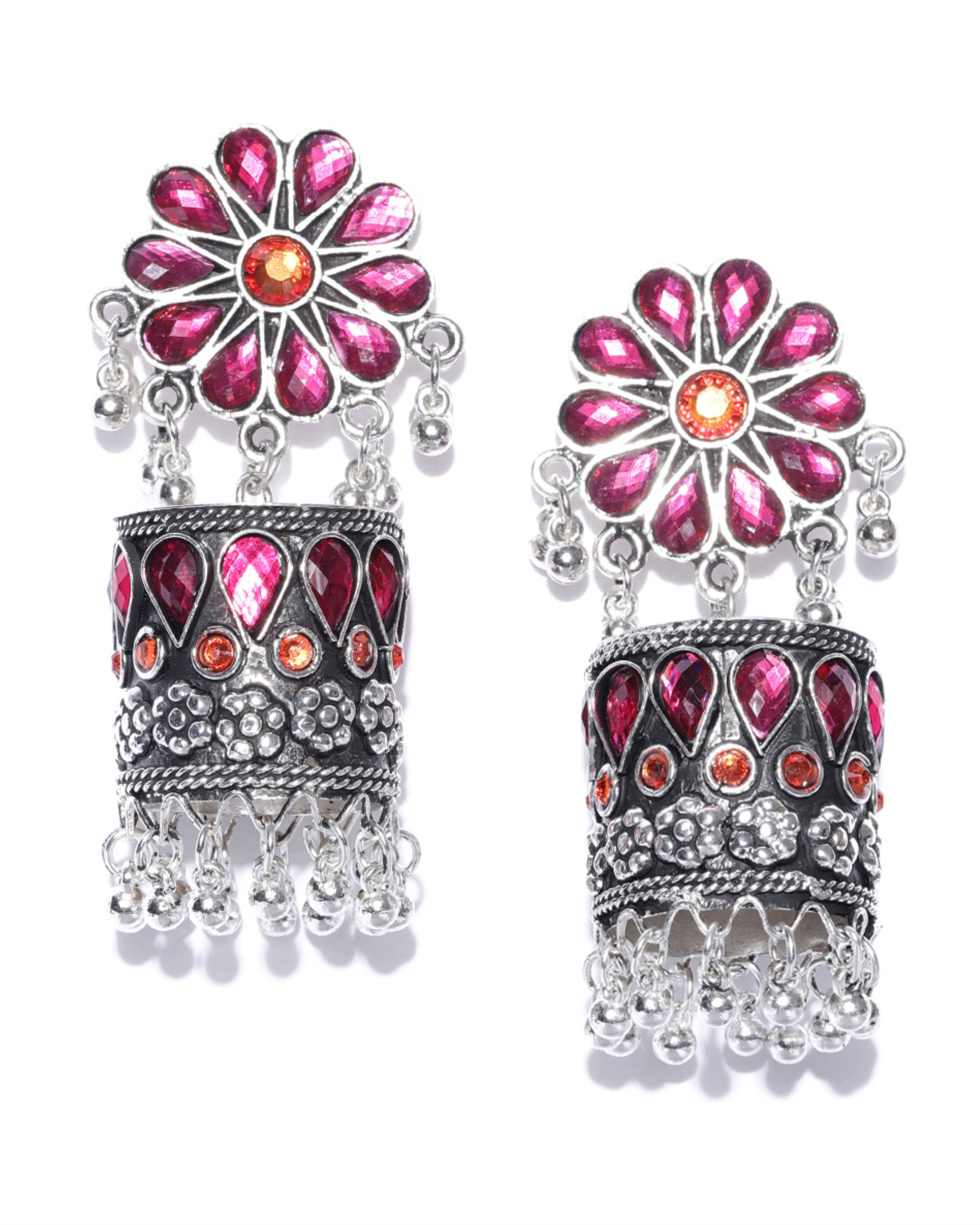 Silver-toned & pink dome textured jhumkas