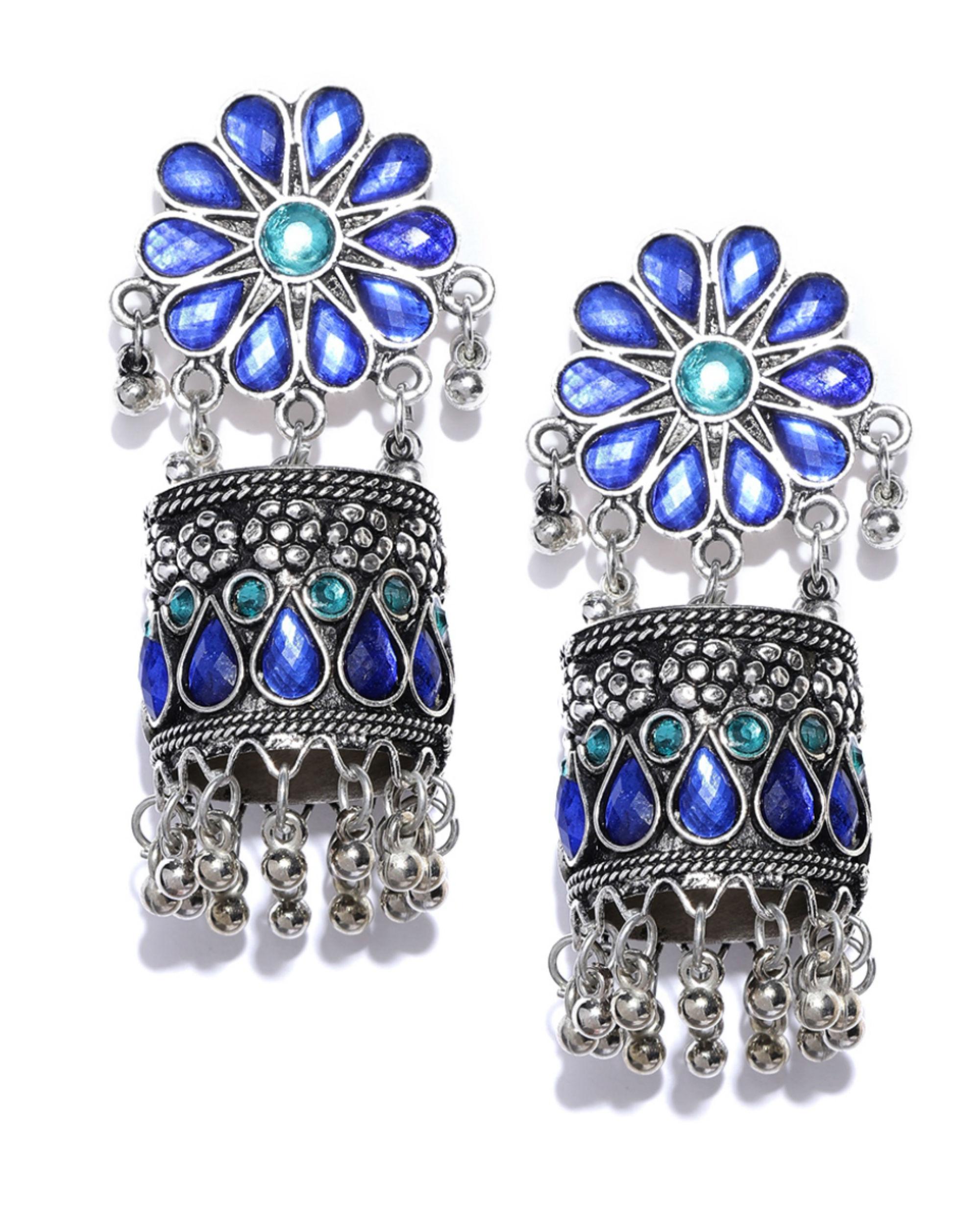 Oxidized silver & blue stone-studded jhumkas