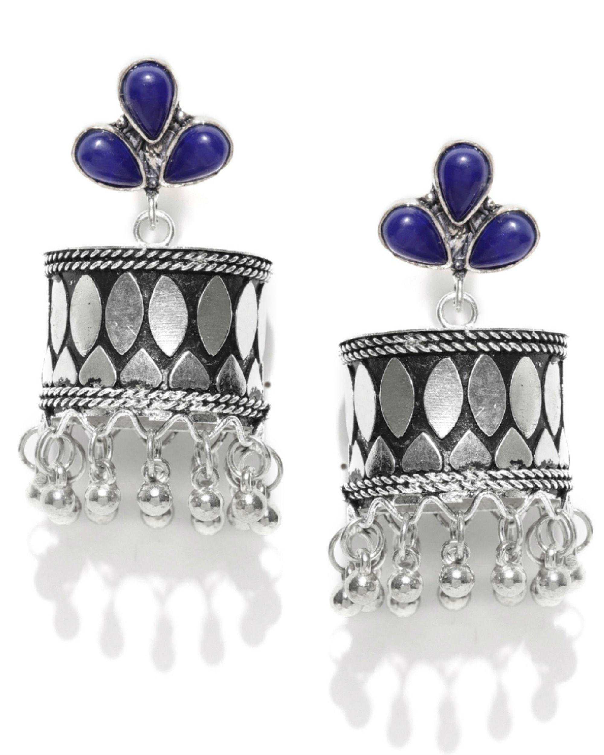 Silver-toned & navy blue beaded jhumkas