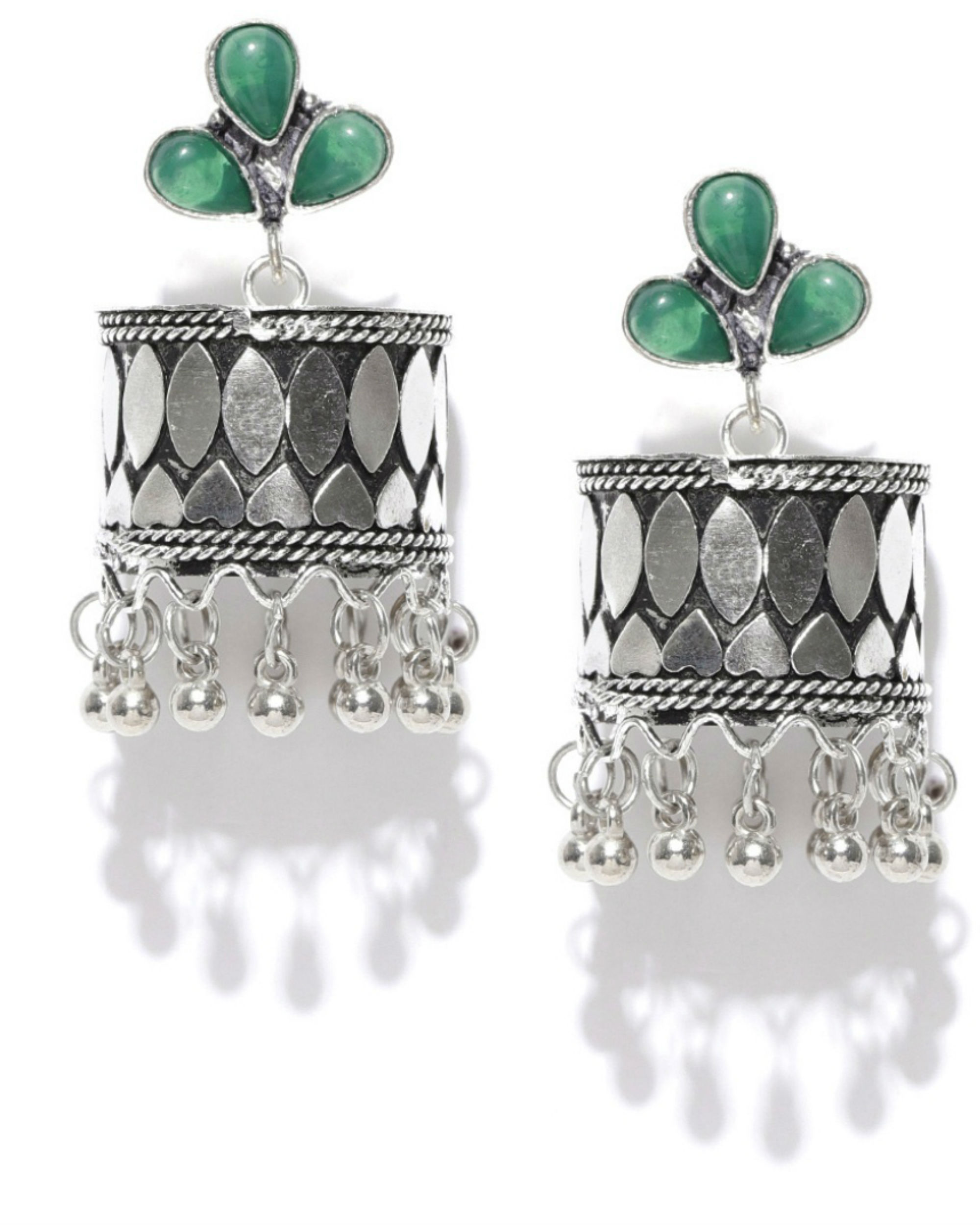 Silver-toned & green beaded jhumkas
