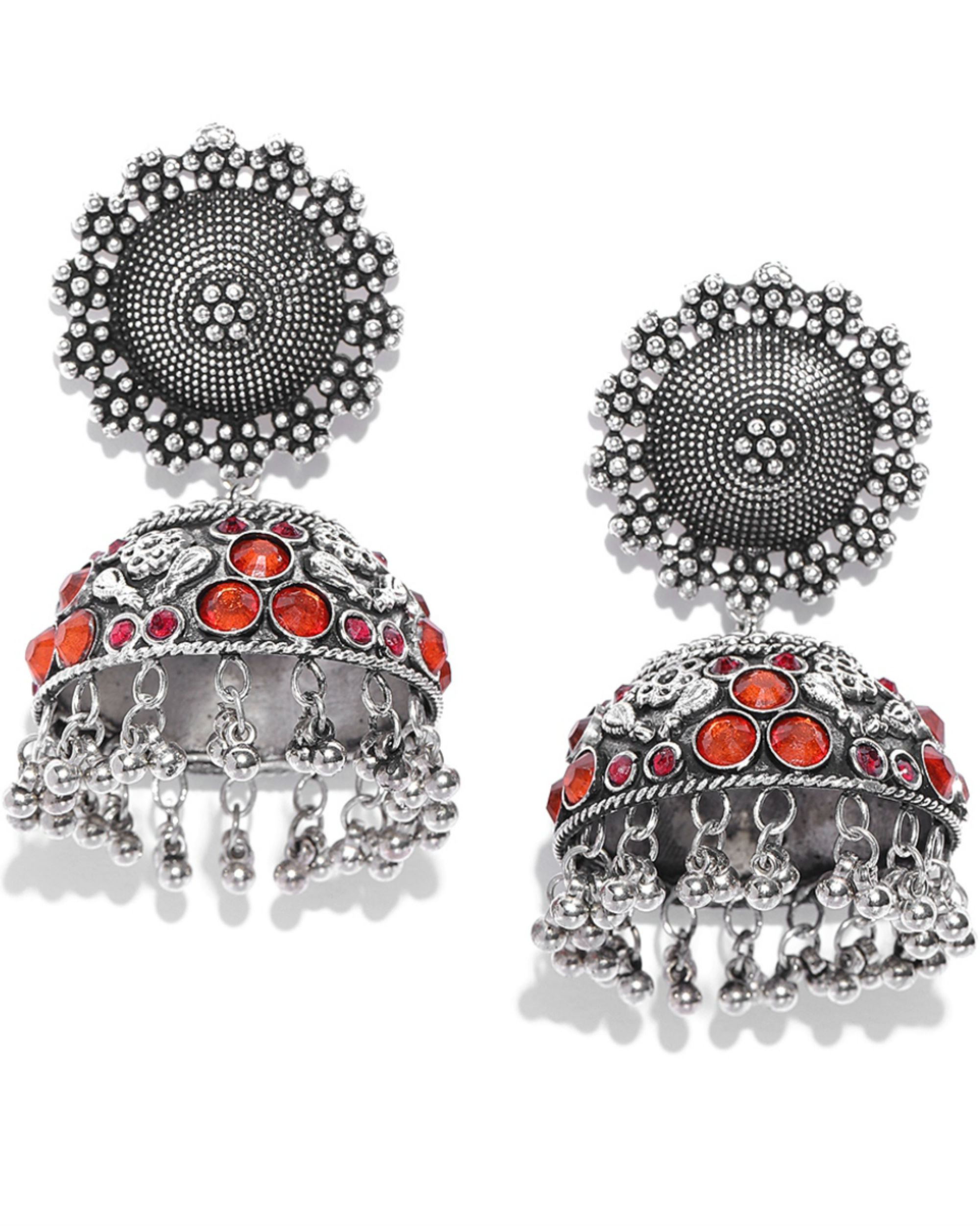 Oxidized orange stone-studded jhumkas