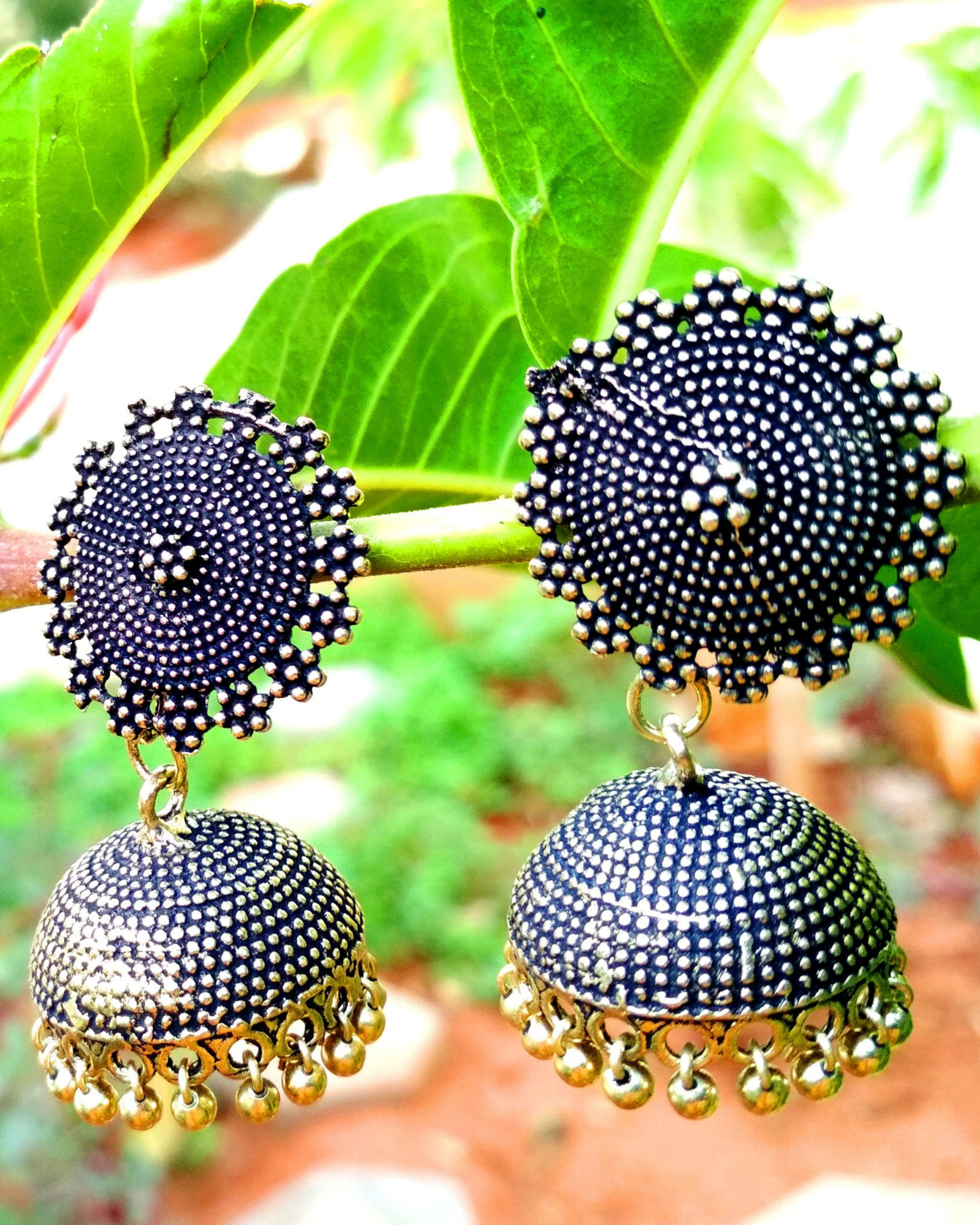 Oxidised golden jhumkas