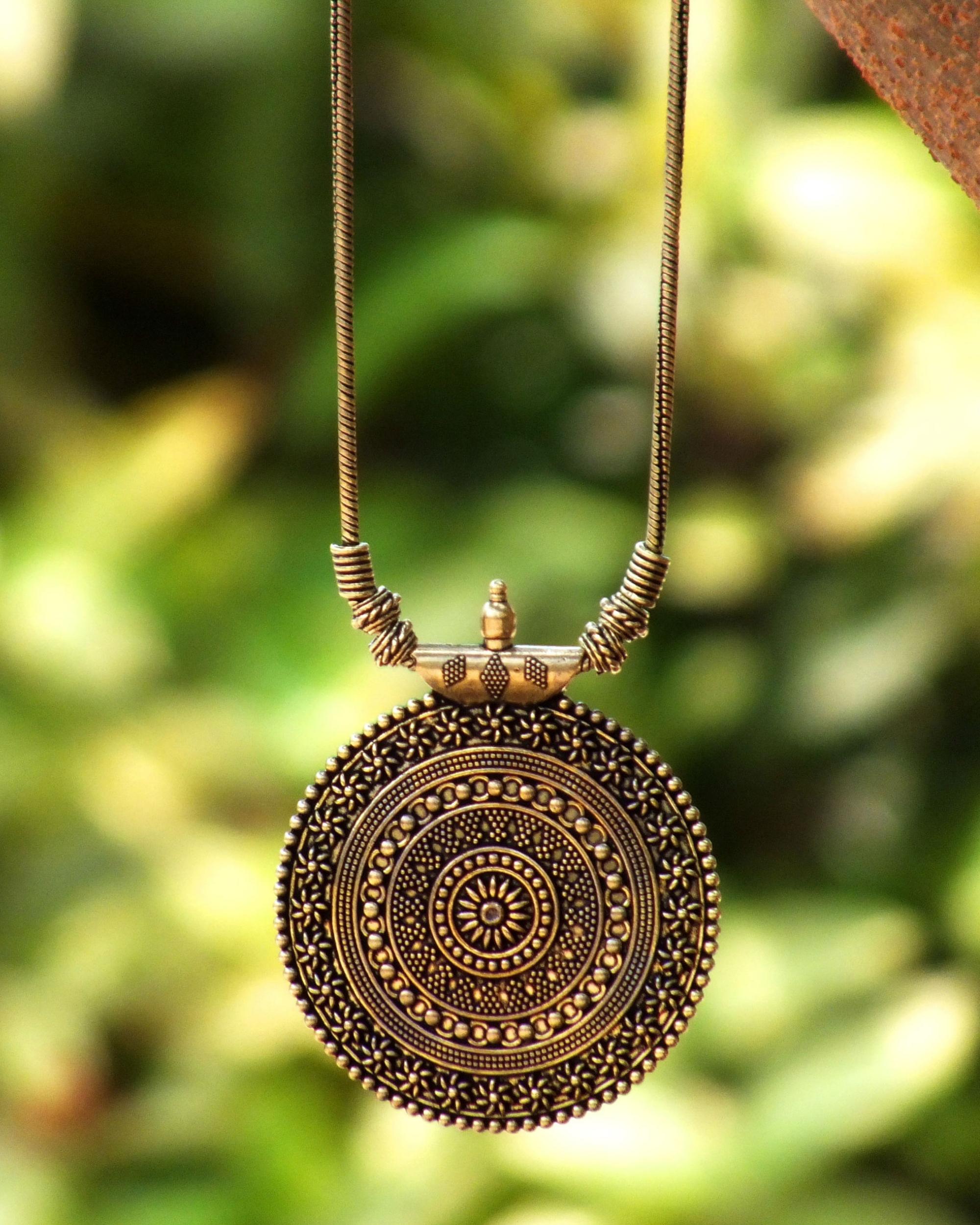 Oxidised chakra pendant necklace