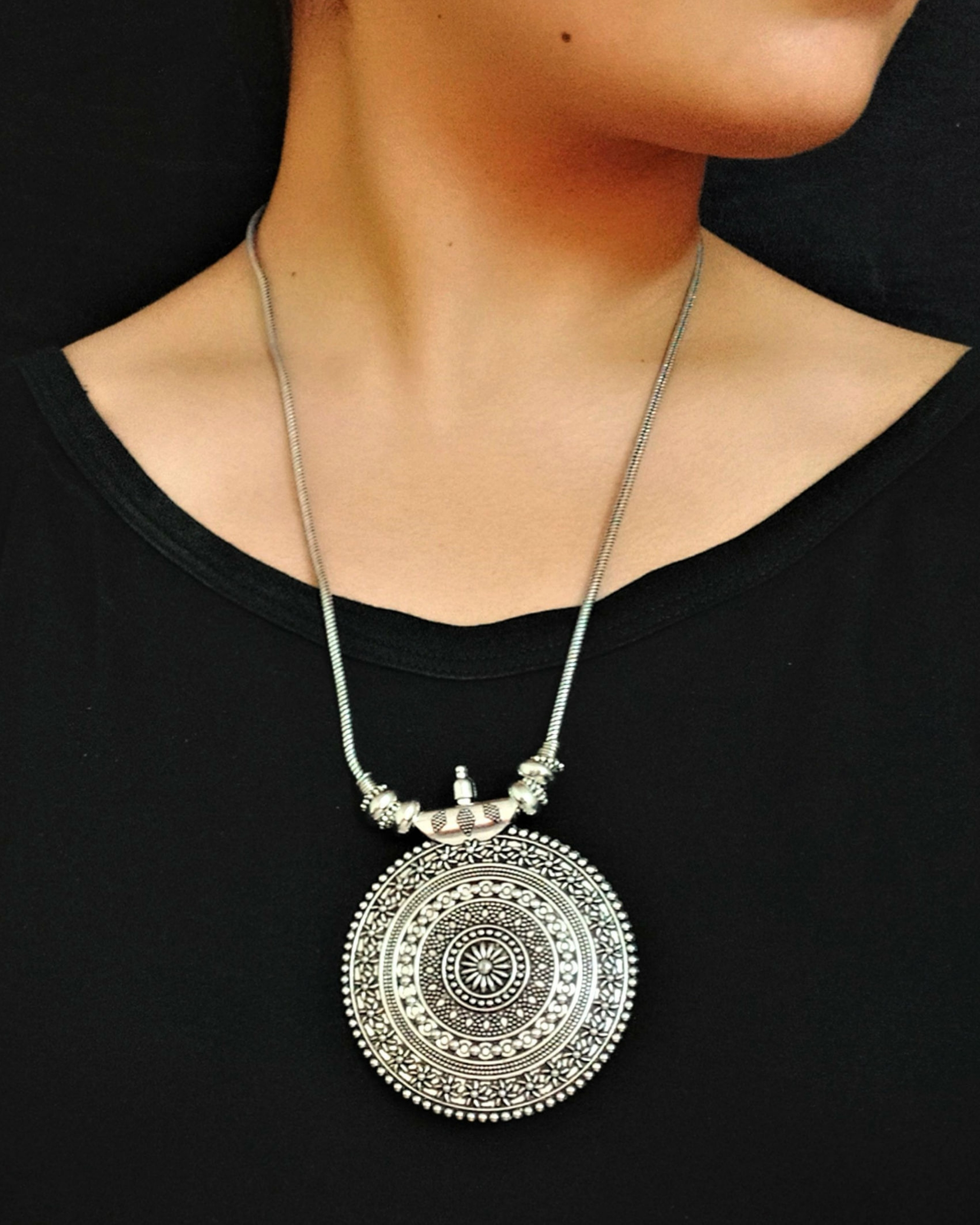 Silver oxidised chakra necklace