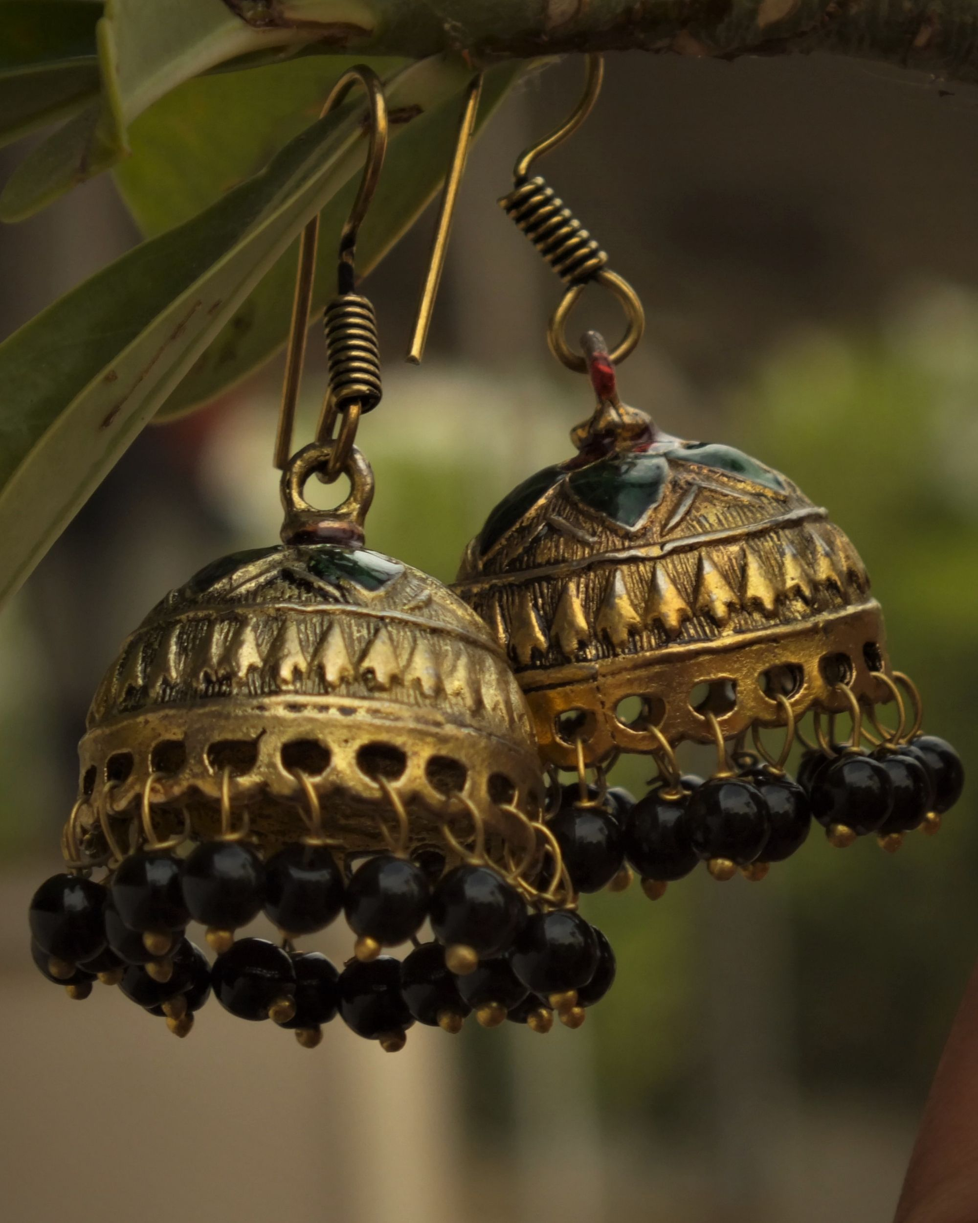 Beads detailed golden jhumkas