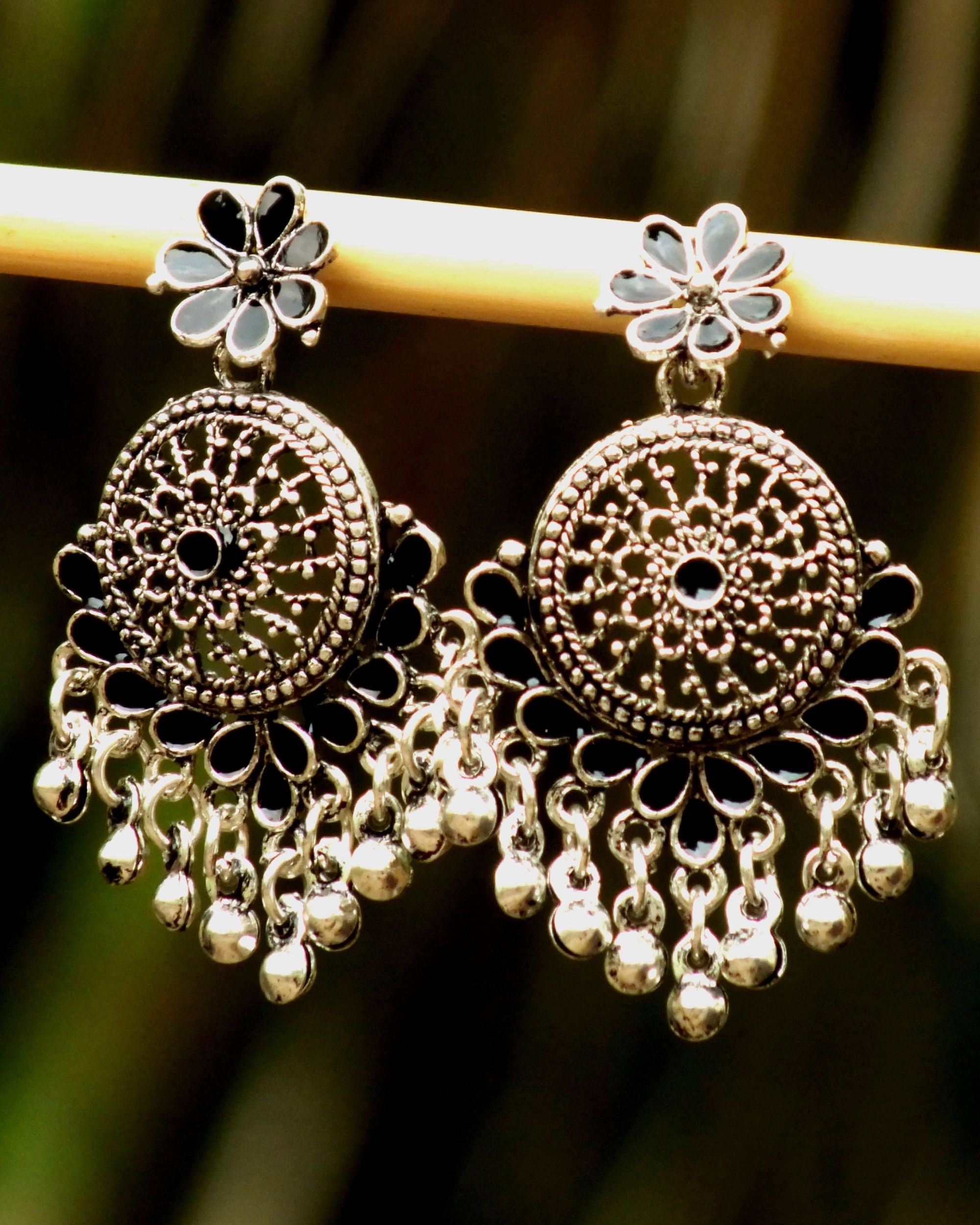 Black and silver flower earrings