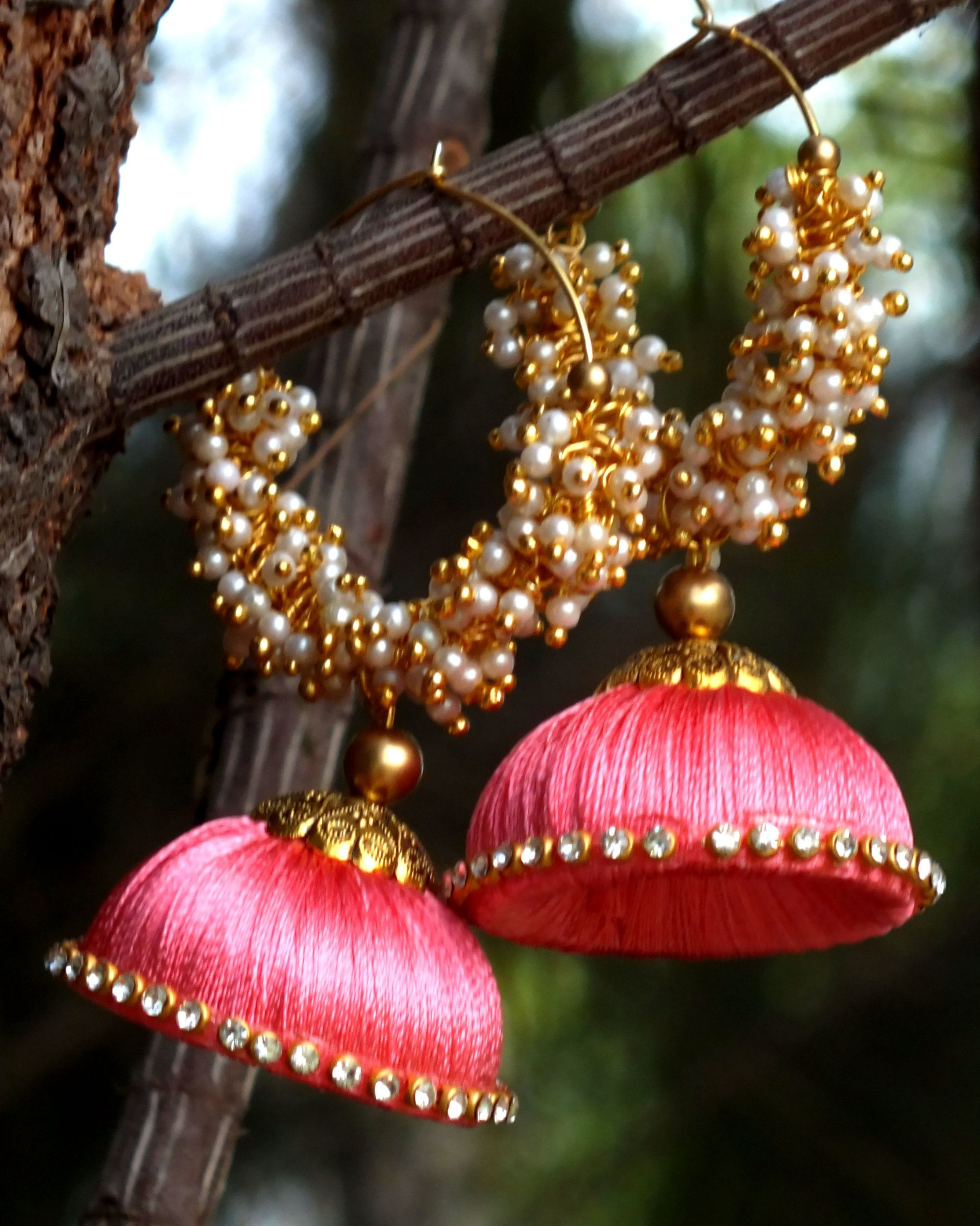 Pink thread gold earrings