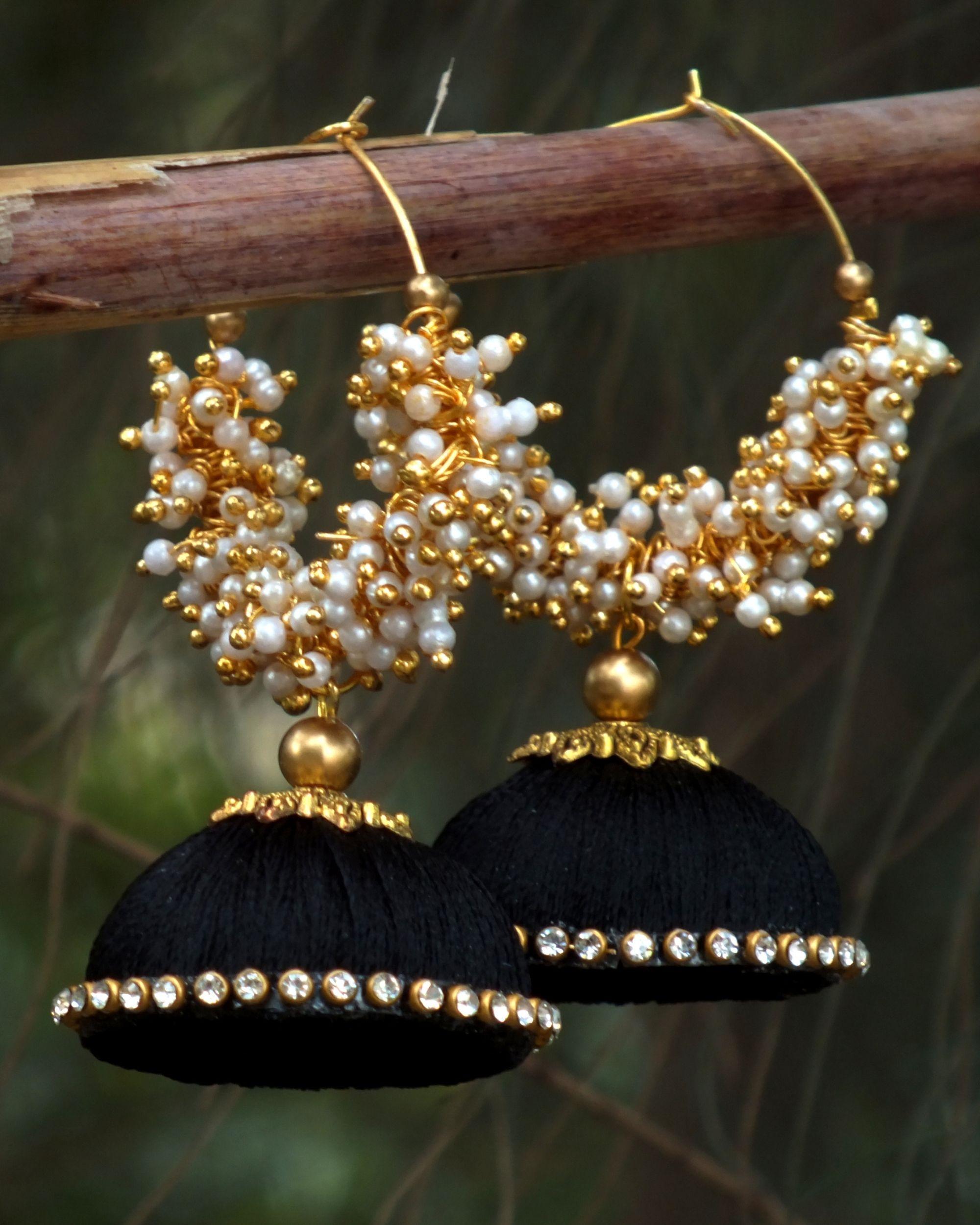 Black thread gold earrings