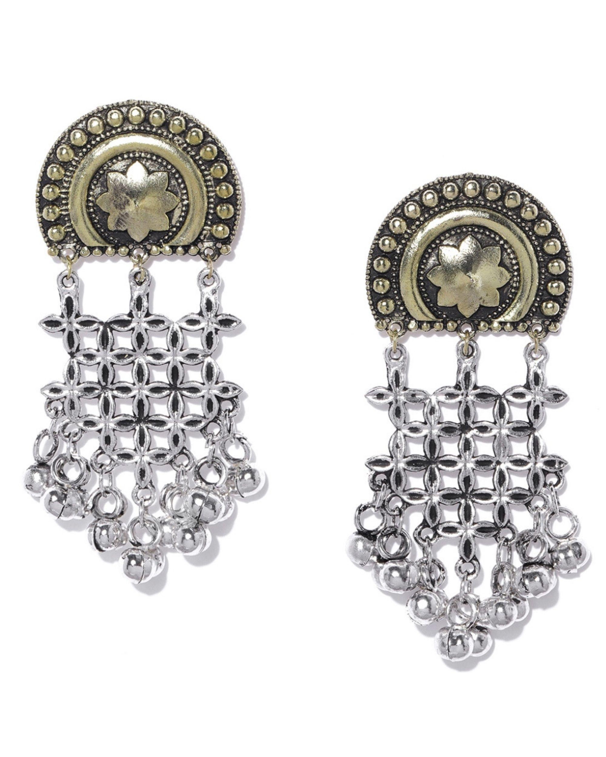 2dba04327 Oxidised silver toned gold classic drop earrings by Infuzze   The Secret  Label