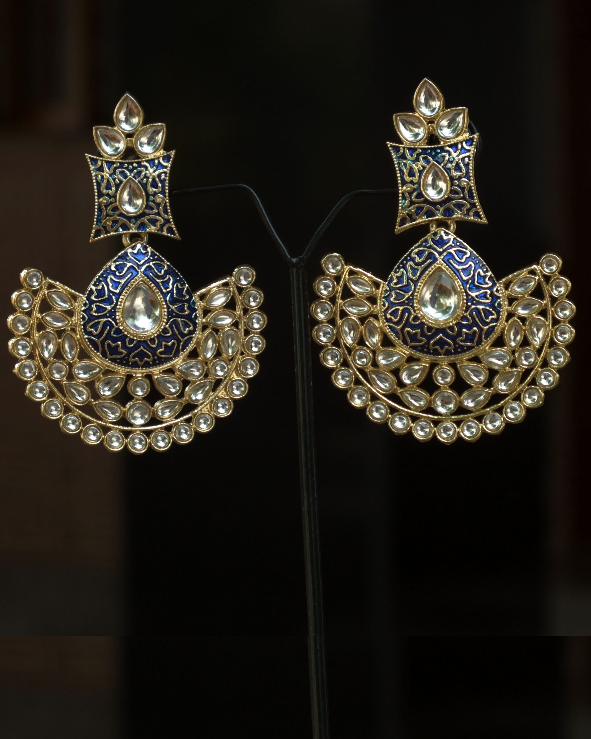 Blue enamel stone earrings
