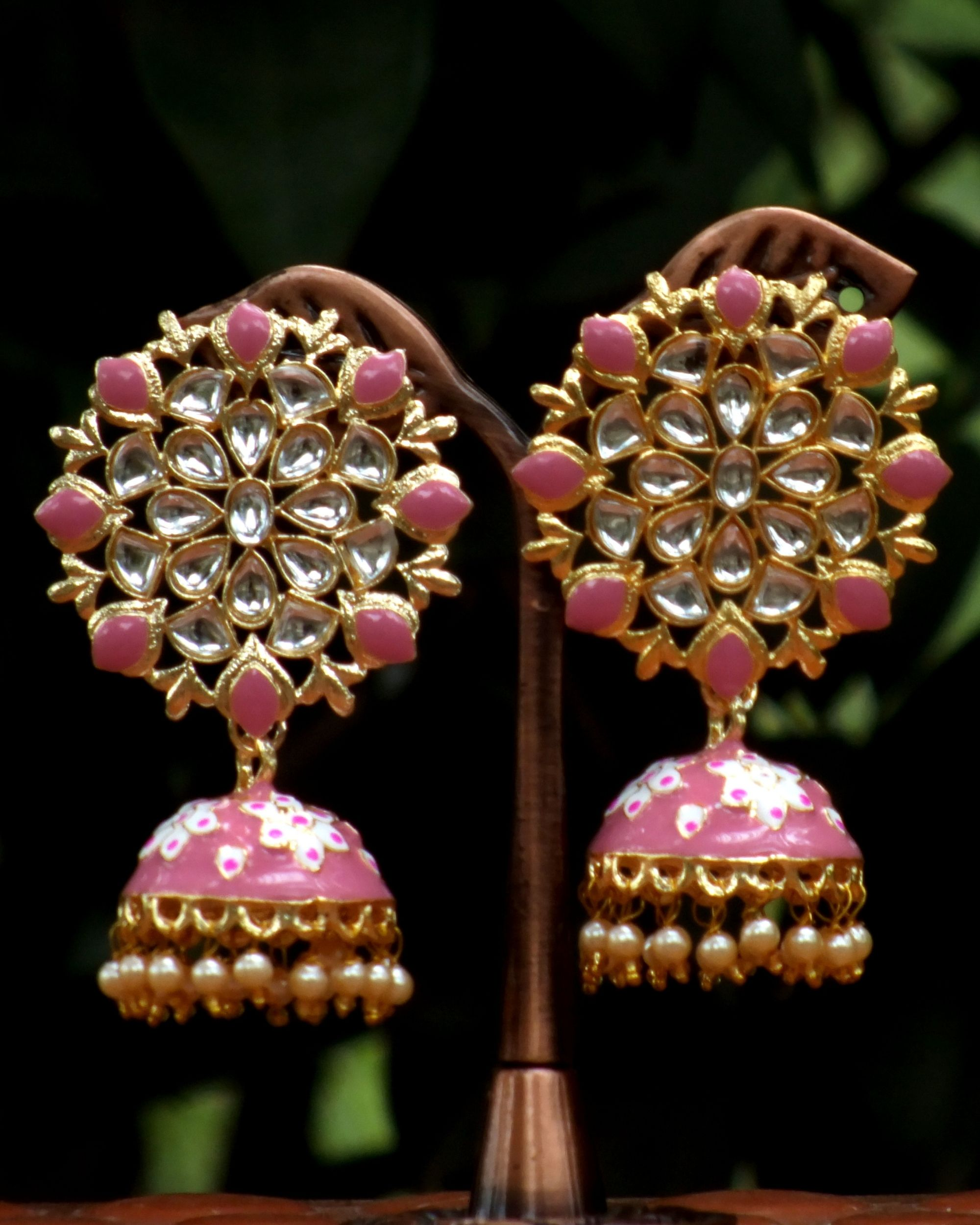 Baby pink meenakari stone earrings