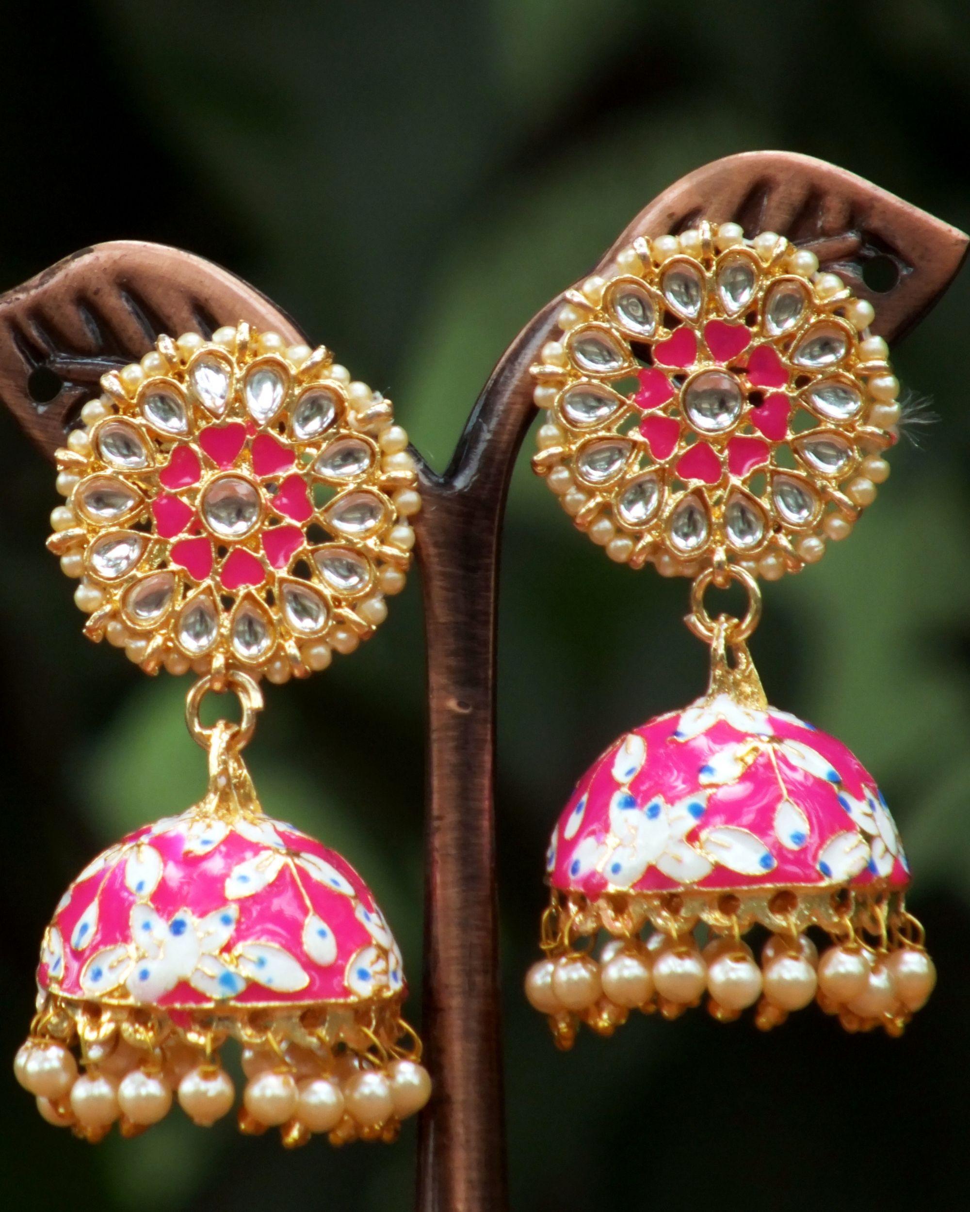 Pink stone and pearl meenakari jhumkas