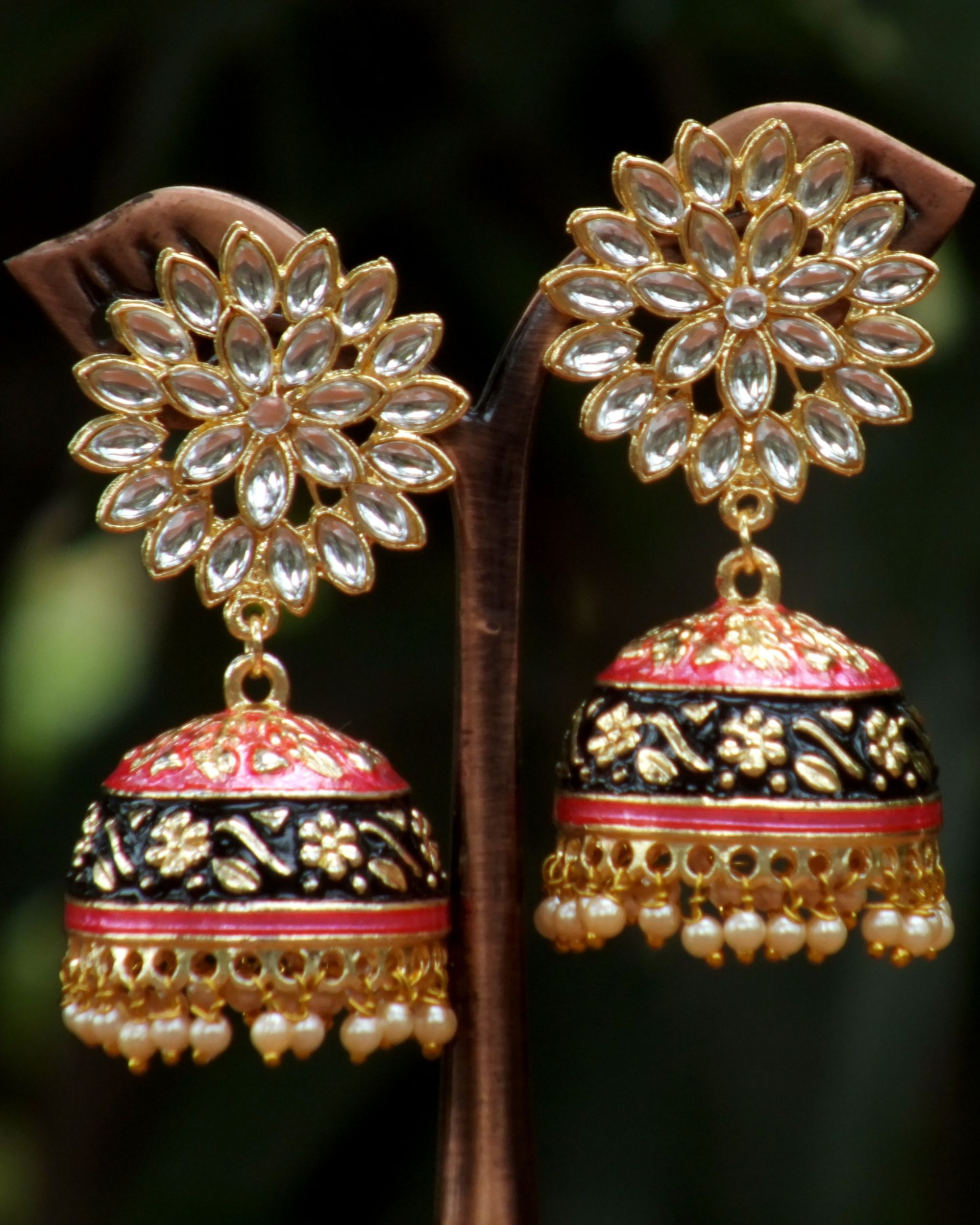 Black and peach meenakari jhumkas
