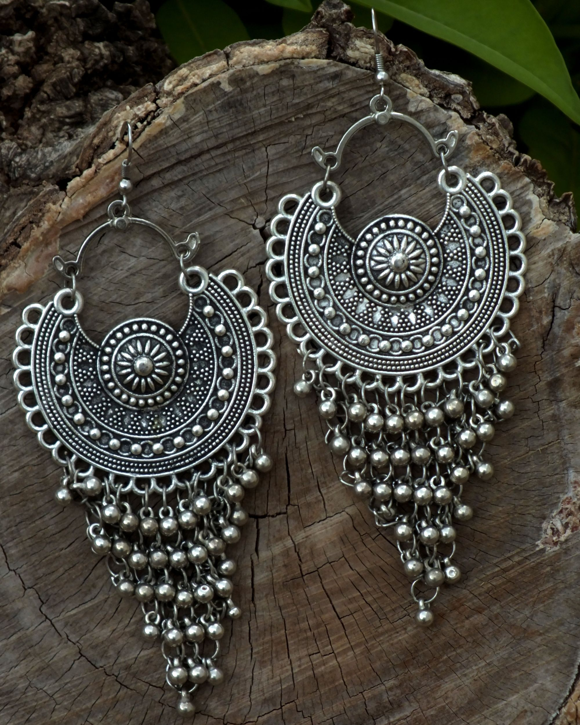 Silver grape earrings