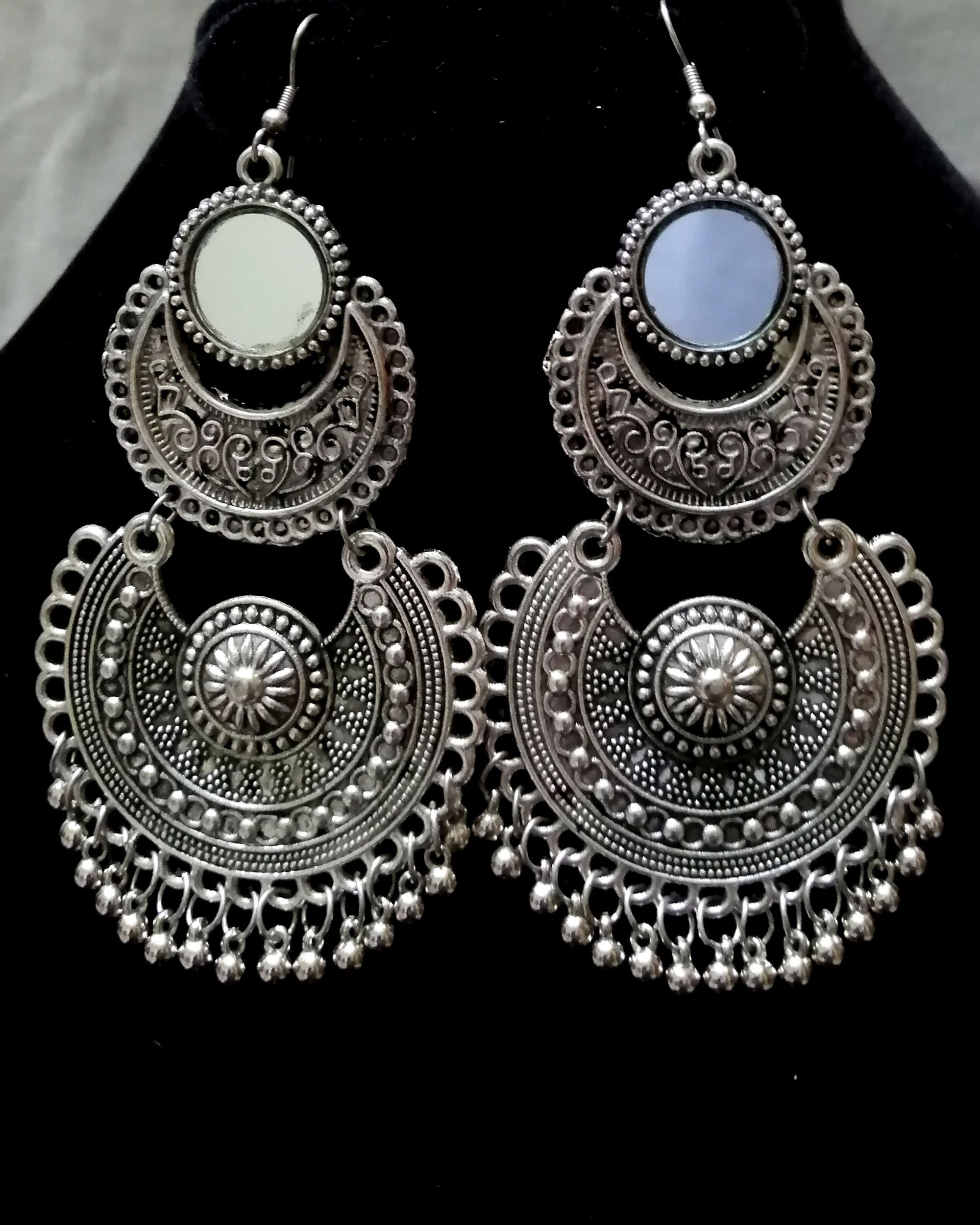 Mirror work layered earrings