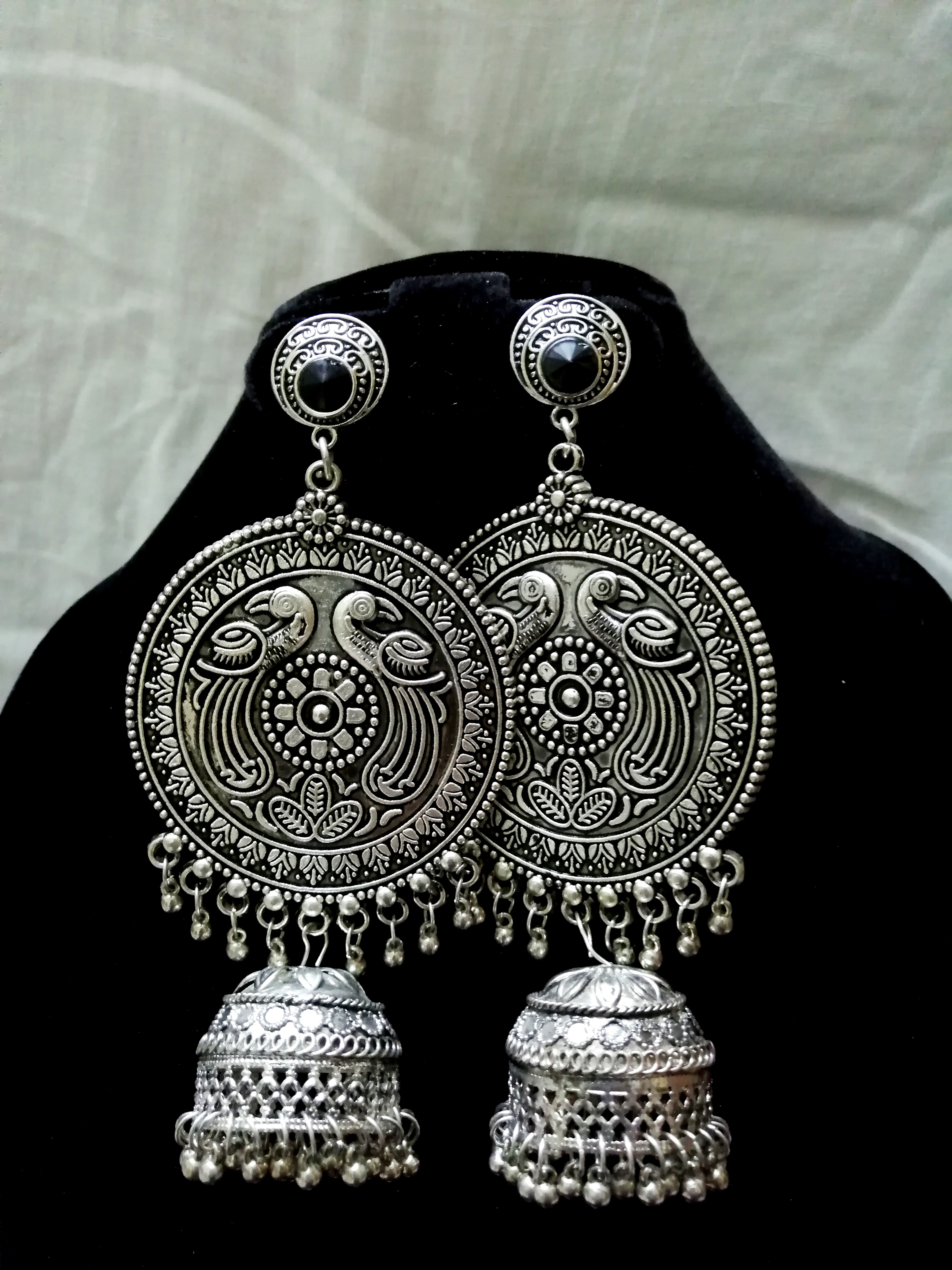 Silver chakra long jhumkas